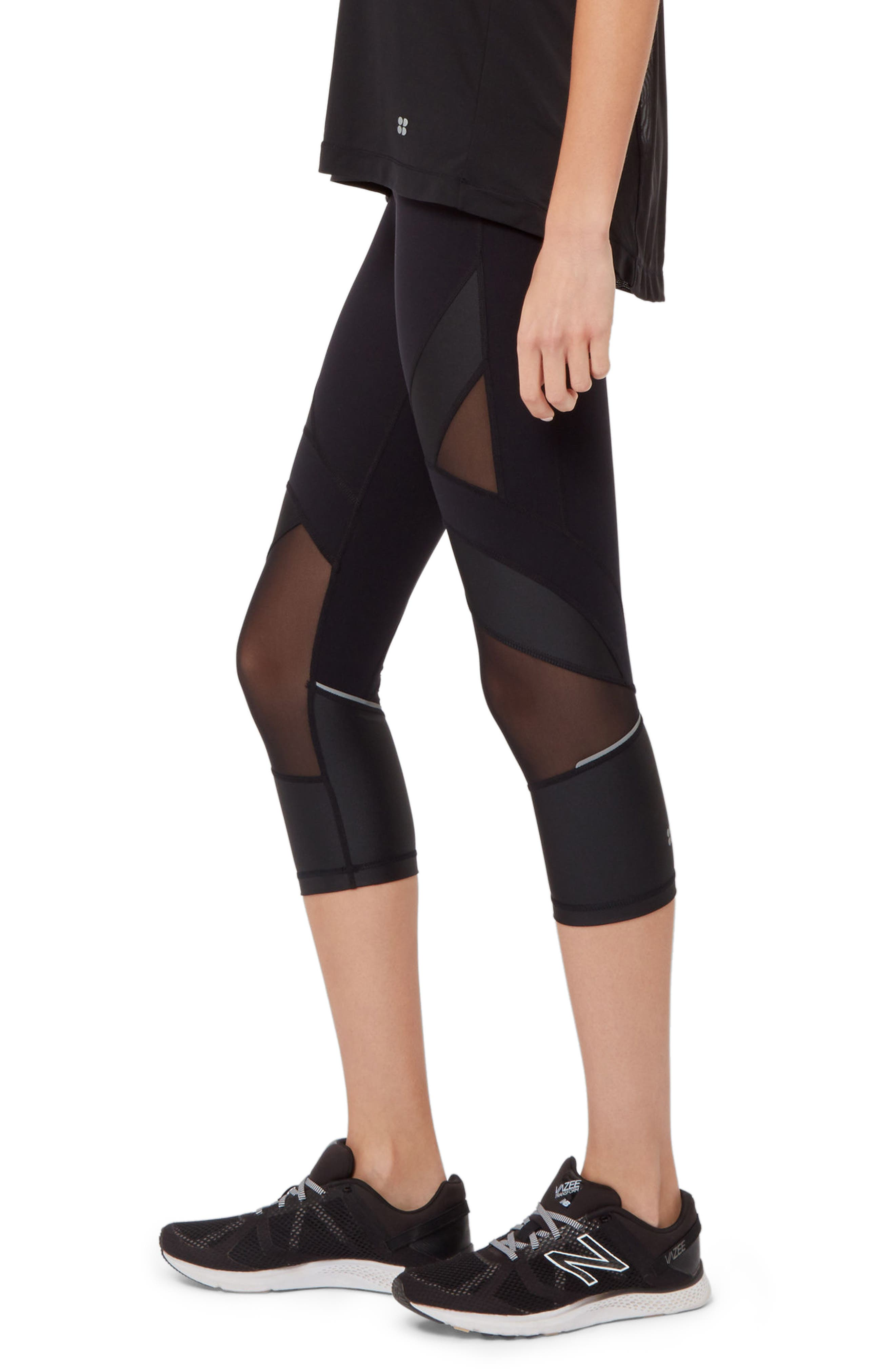 Power Wetlook Mesh 7/8 Workout Leggings,                             Alternate thumbnail 4, color,                             BLACK
