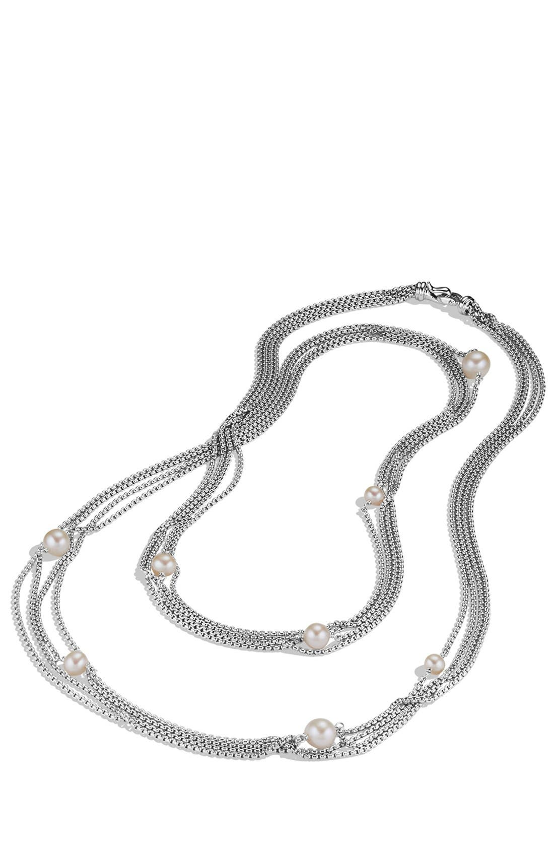 Four-Row Chain Necklace with Pearls,                             Alternate thumbnail 3, color,                             PEARL