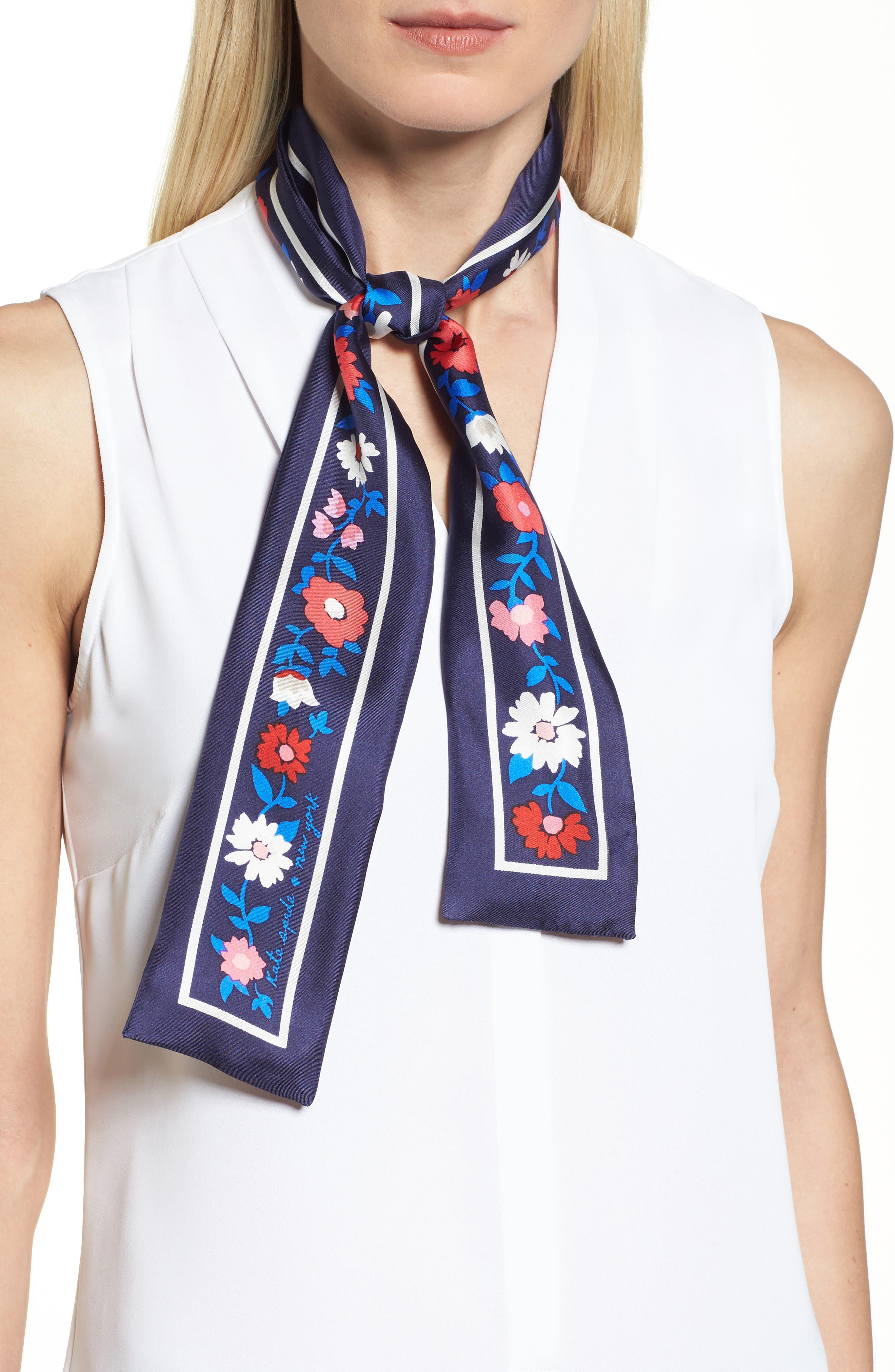 KATE SPADE NEW YORK daisy skinny silk scarf, Main, color, 415