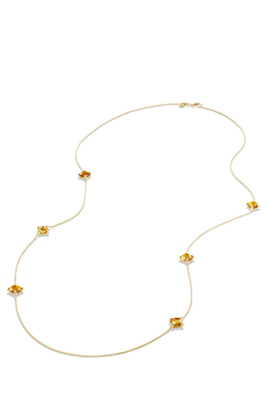 'Châtelaine' Long Semiprecious Stone Necklace with Diamonds,                             Alternate thumbnail 3, color,                             CITRINE