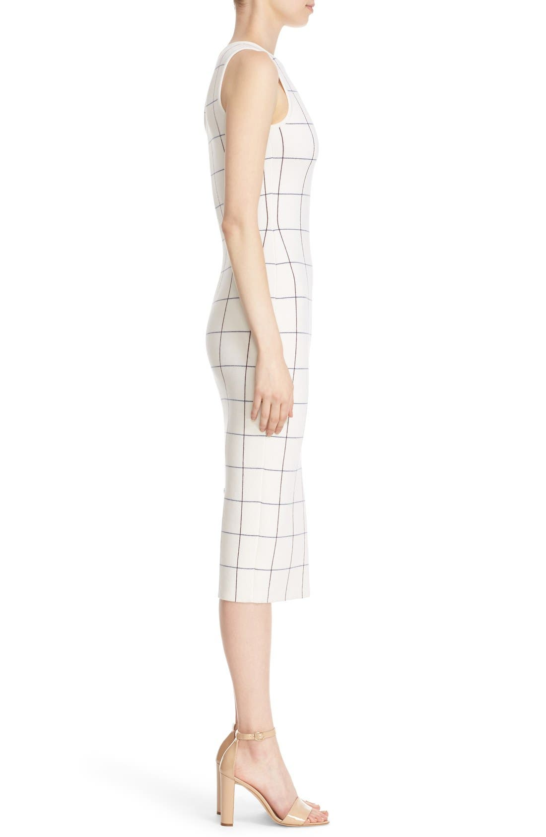 Victoria Beckham Intarsia Check Sheath Dress,                             Alternate thumbnail 4, color,                             100