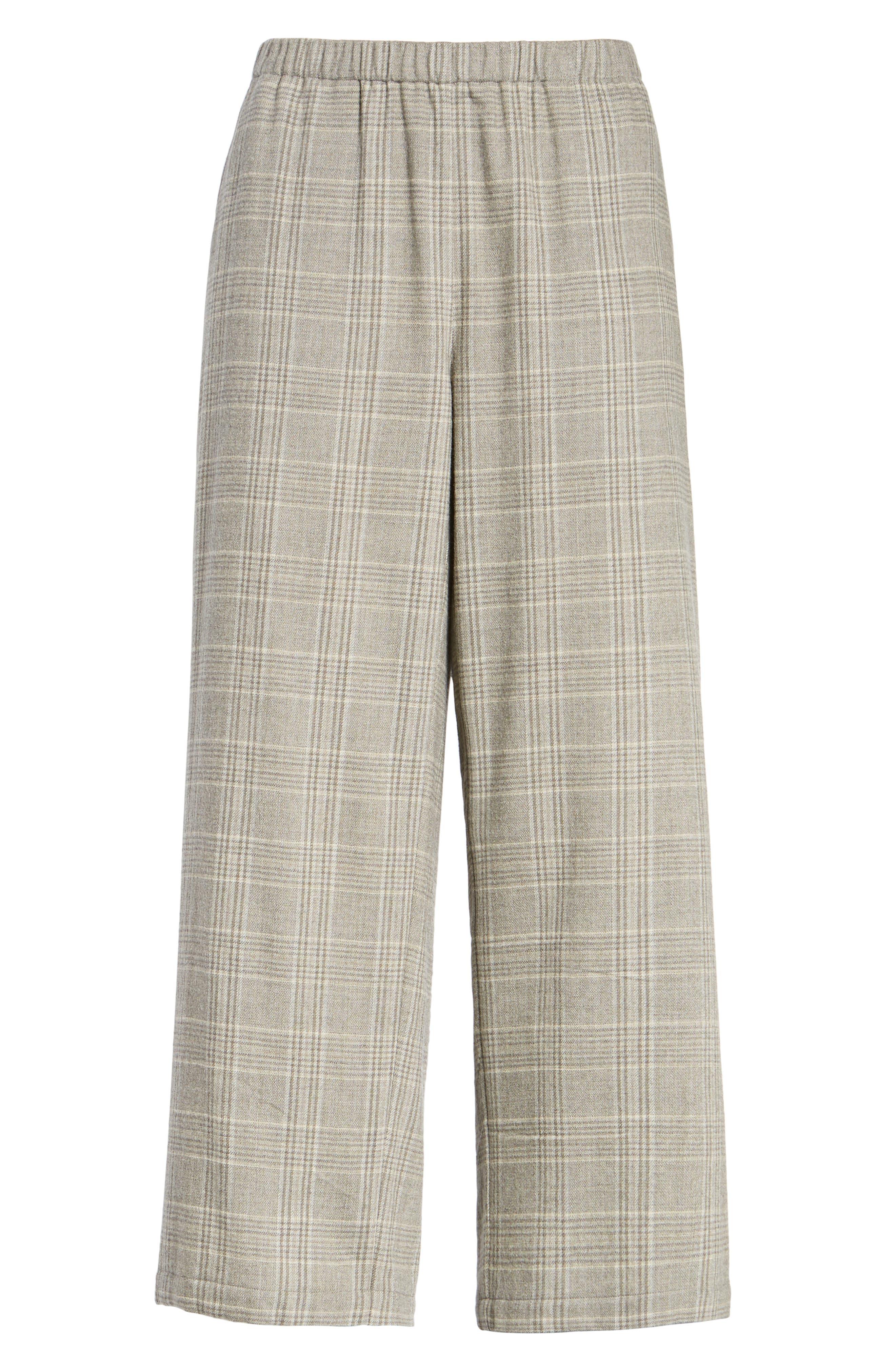 Plaid Wide Leg Crop Pants,                             Alternate thumbnail 6, color,                             542