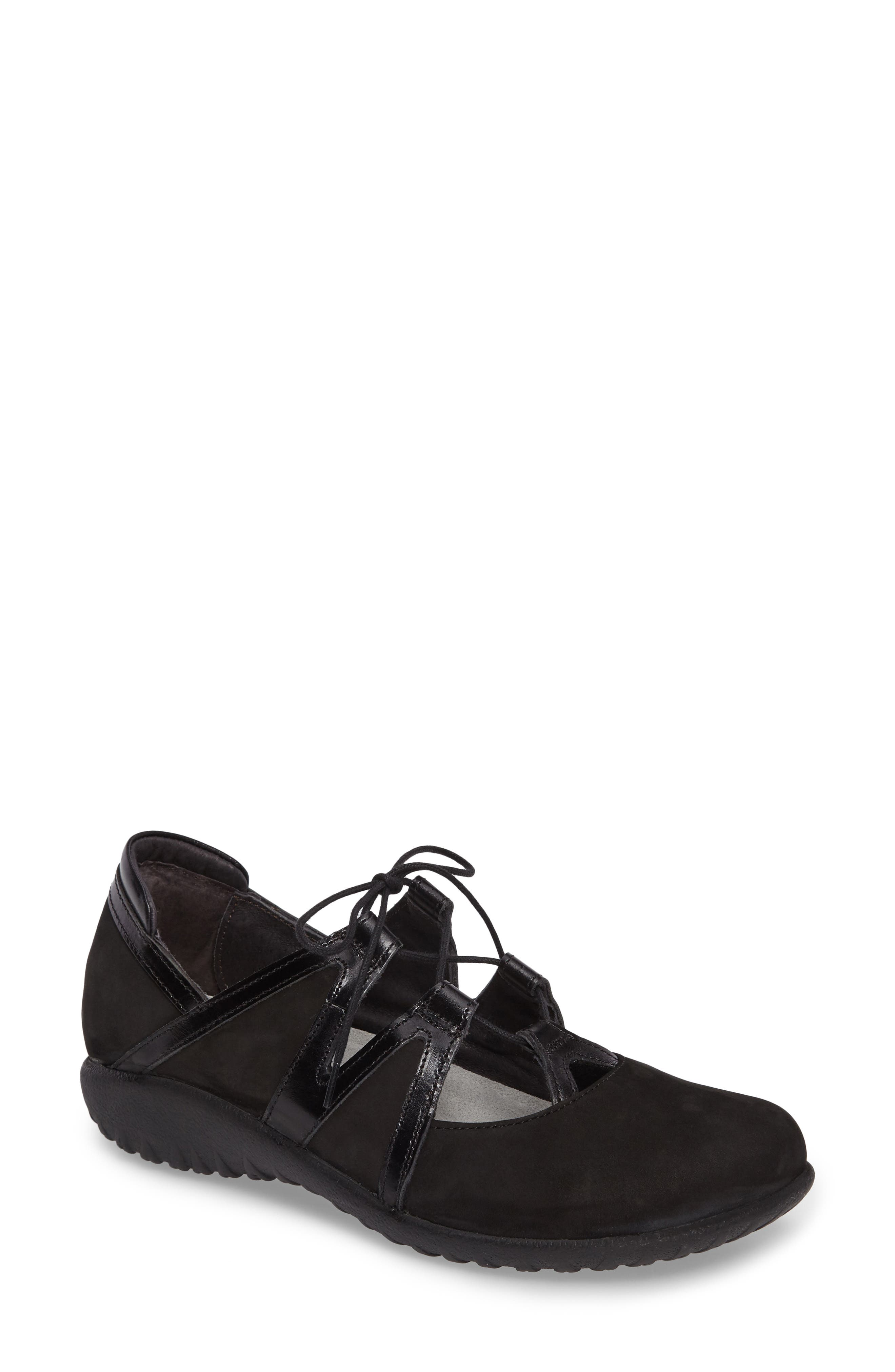 Timu Ghillie Lace Flat,                             Main thumbnail 1, color,                             BLACK MADRAS LEATHER