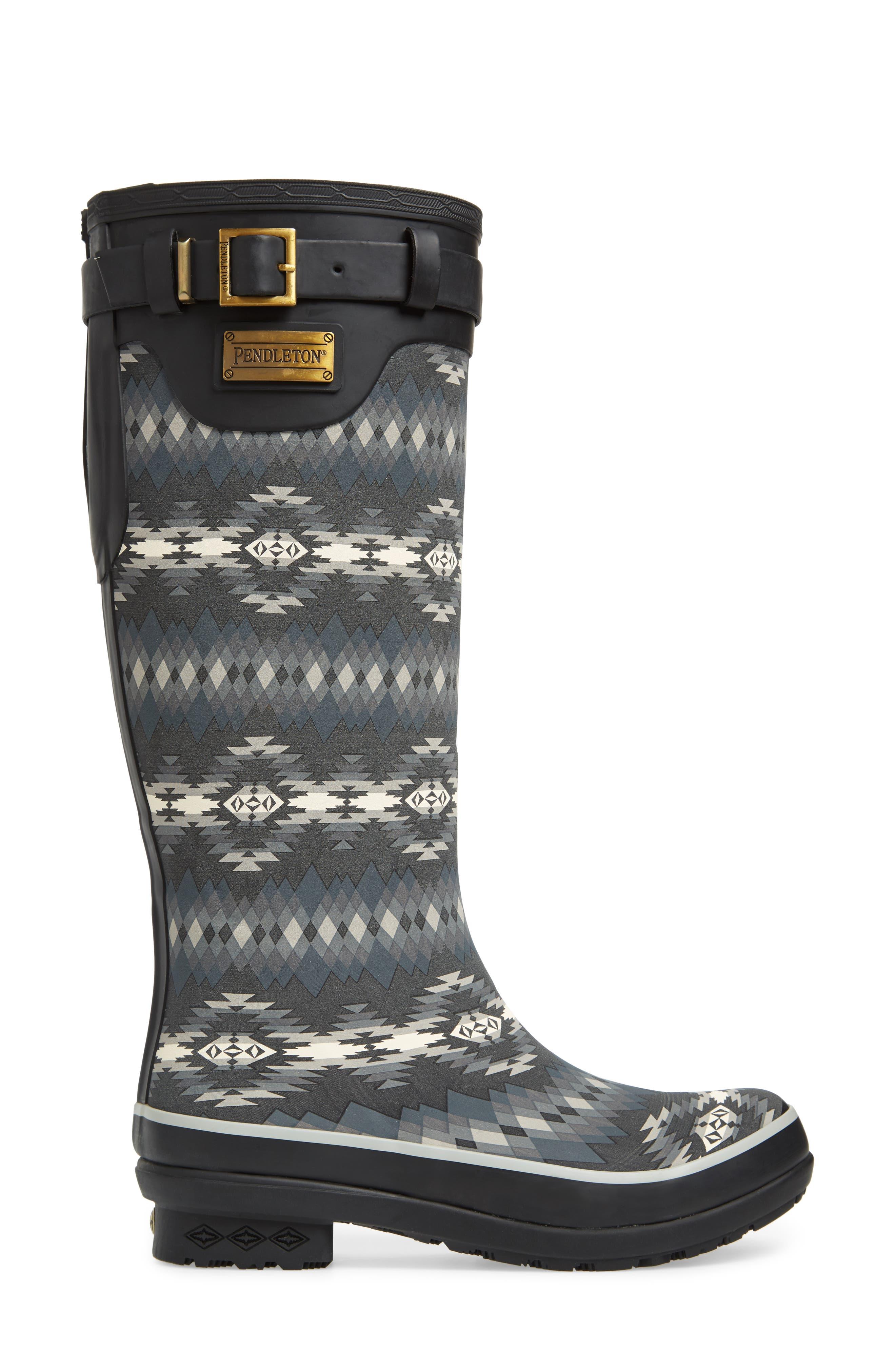 Pendleton Papago Park Tall Rain Boot,                             Alternate thumbnail 3, color,                             BLACK
