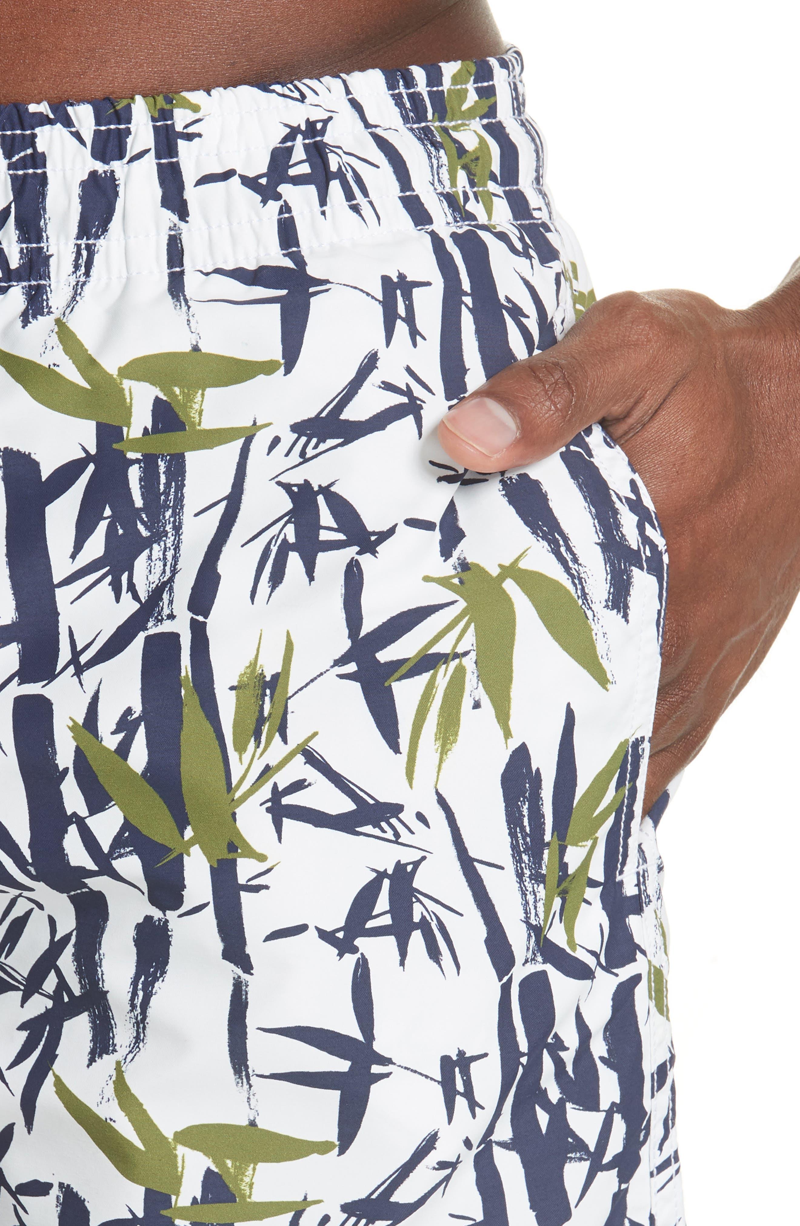 Bamboo Song Print Swim Trunks,                             Alternate thumbnail 4, color,                             WHITE