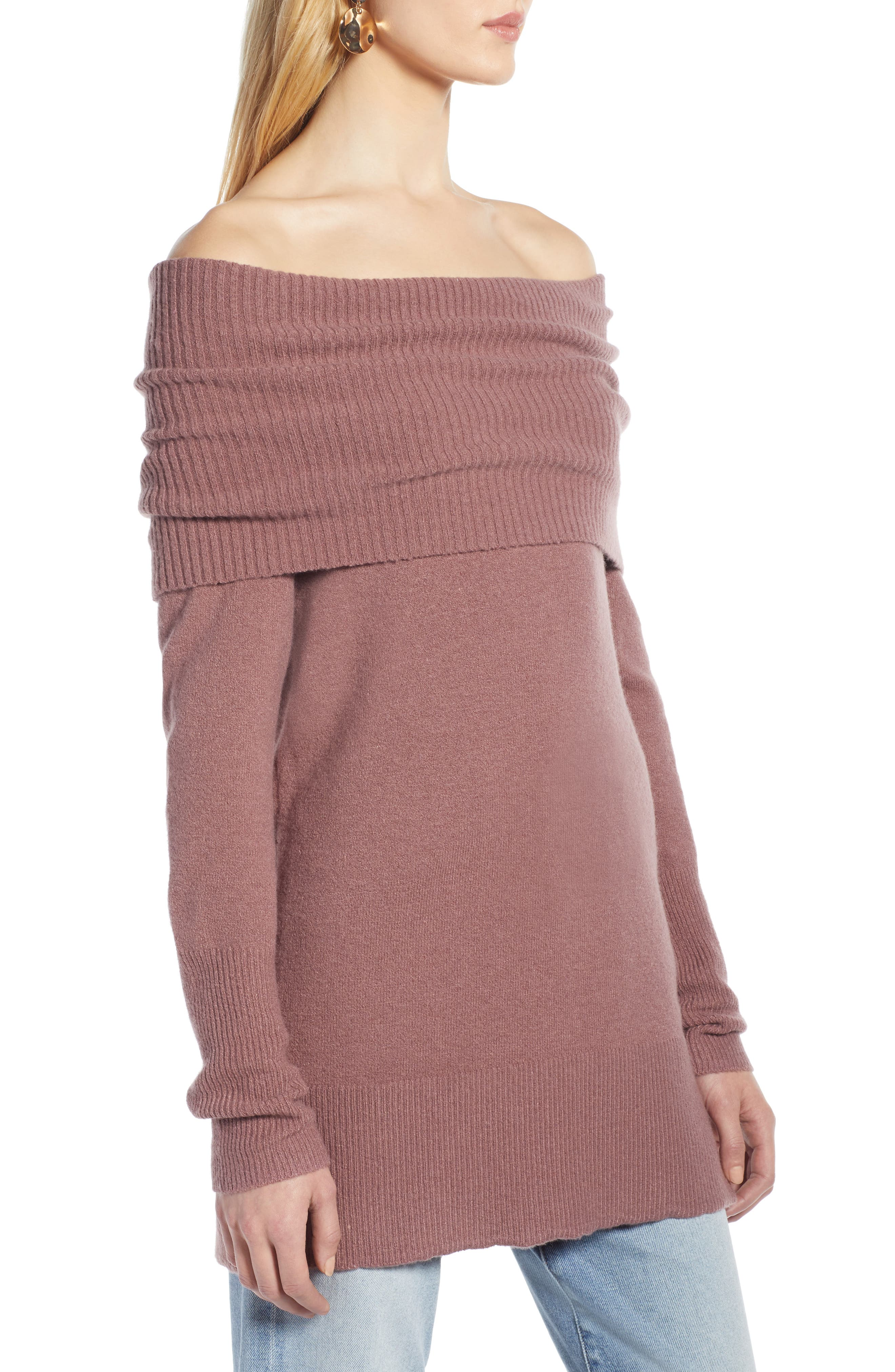 Convertible Neck Sweater,                             Alternate thumbnail 3, color,                             PURPLE TAUPE