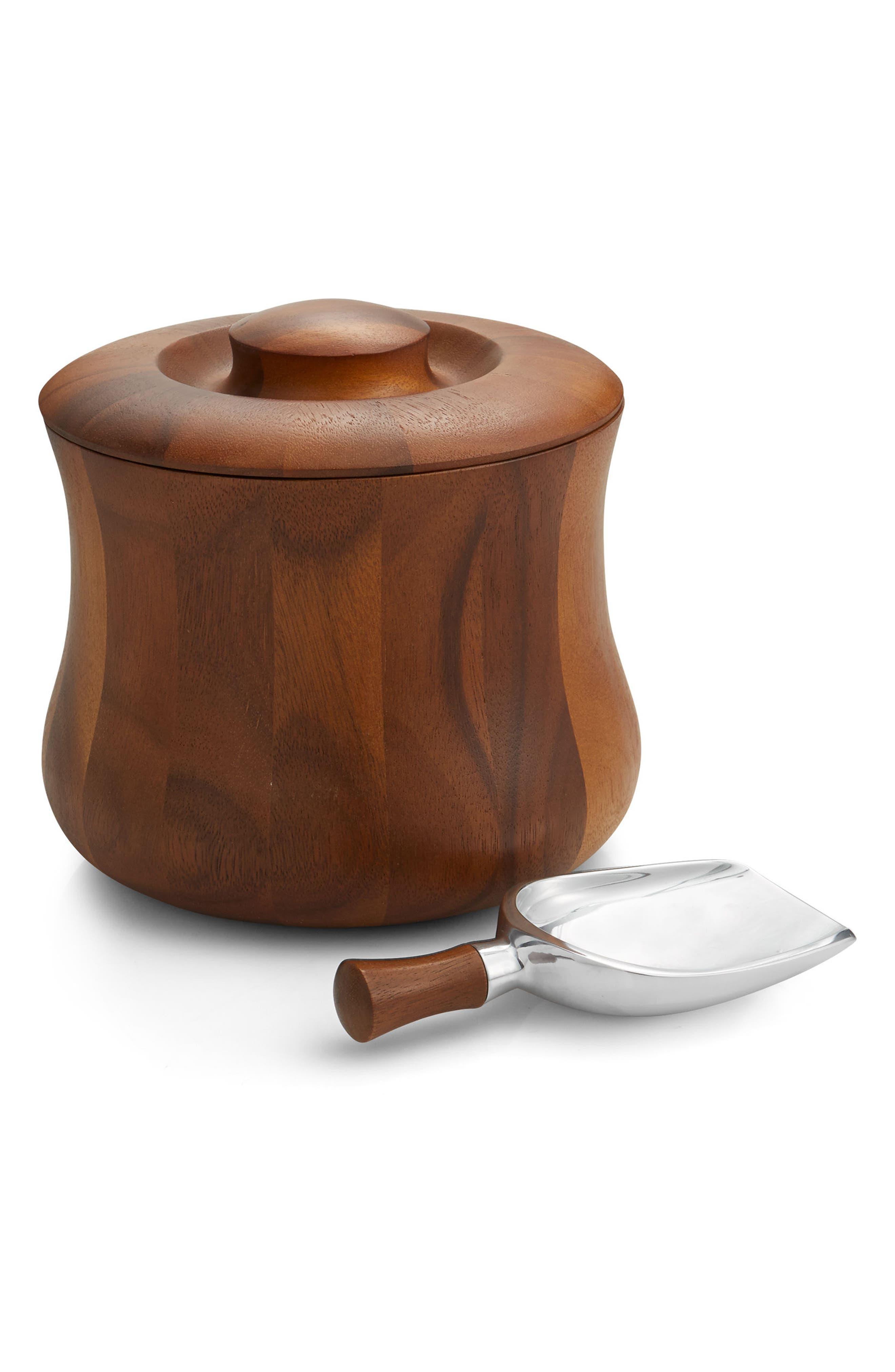 Nara Ice Bucket & Scoop,                             Main thumbnail 1, color,                             WOOD