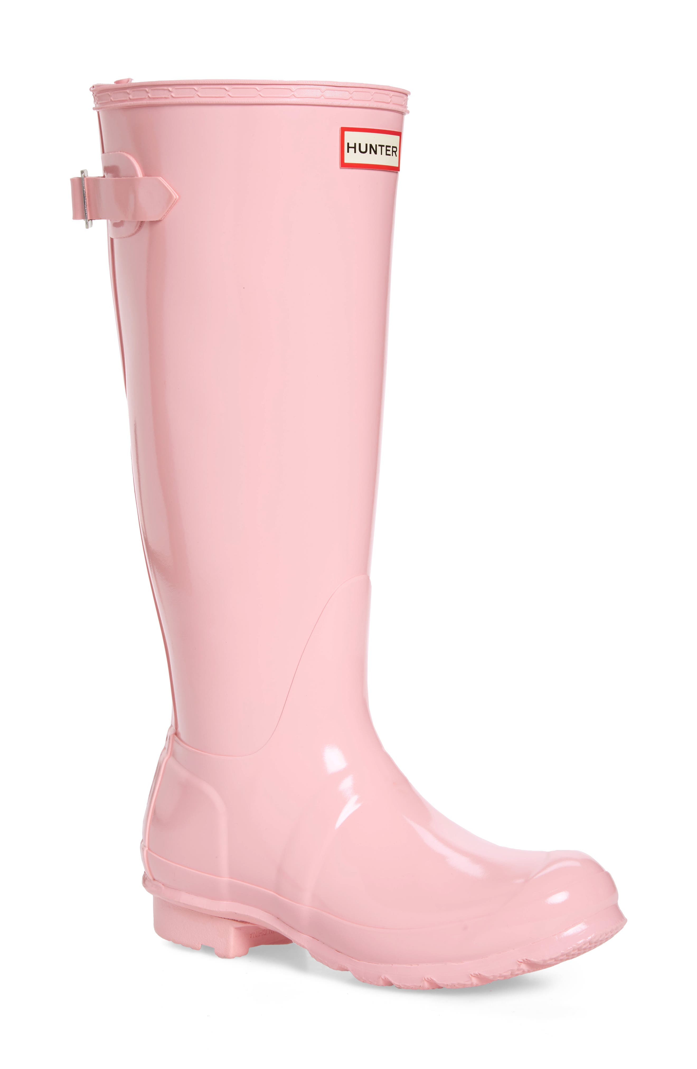 Adjustable Back Gloss Waterproof Rain Boot,                             Main thumbnail 1, color,                             CANDY FLOSS RUBBER