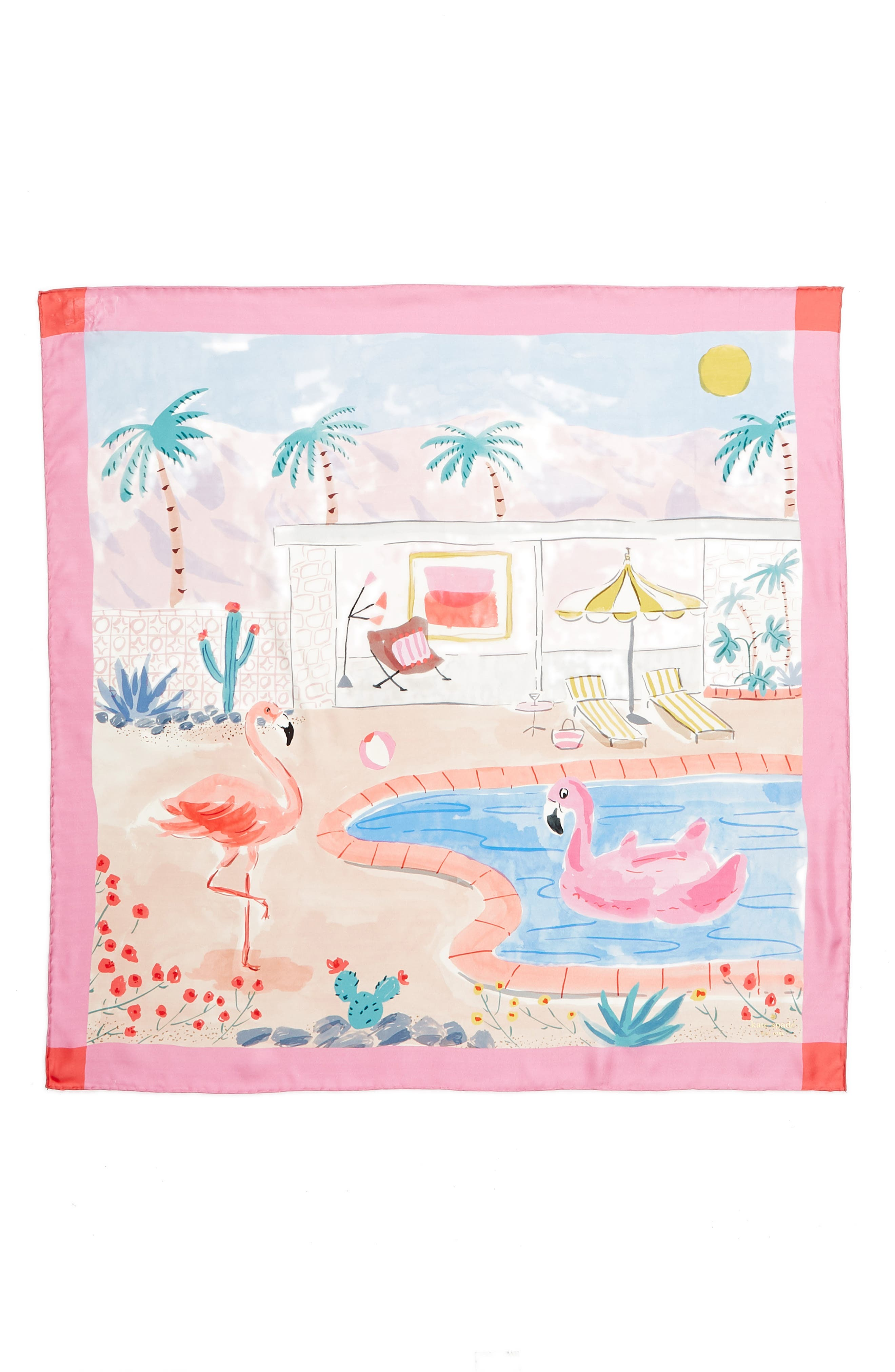 palm springs pool square silk scarf,                             Alternate thumbnail 3, color,                             SURF PINK