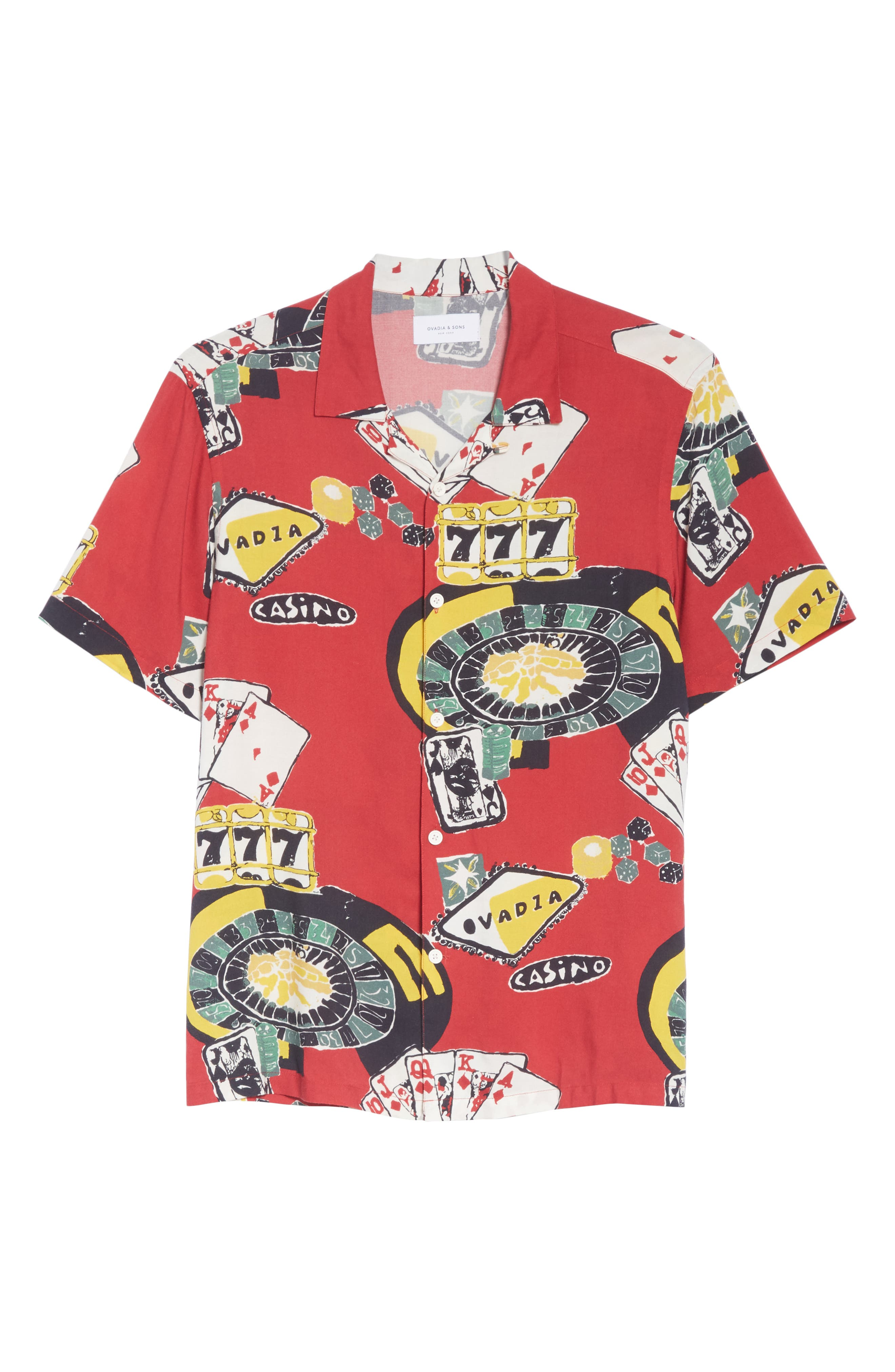OVADIA & SONS,                             Casino Print Shirt,                             Alternate thumbnail 6, color,                             600