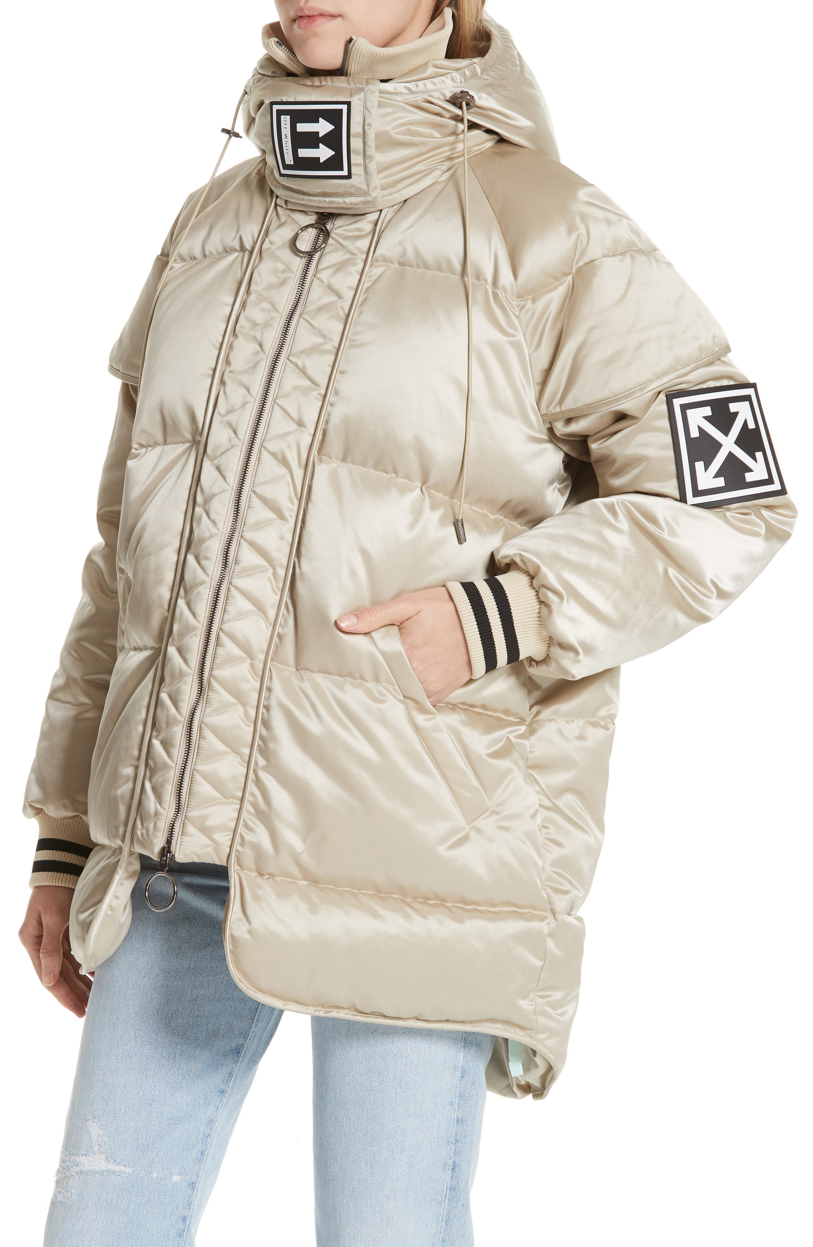 Patch Down Fill Puffer Jacket,                             Alternate thumbnail 4, color,                             BEIGE BLACK