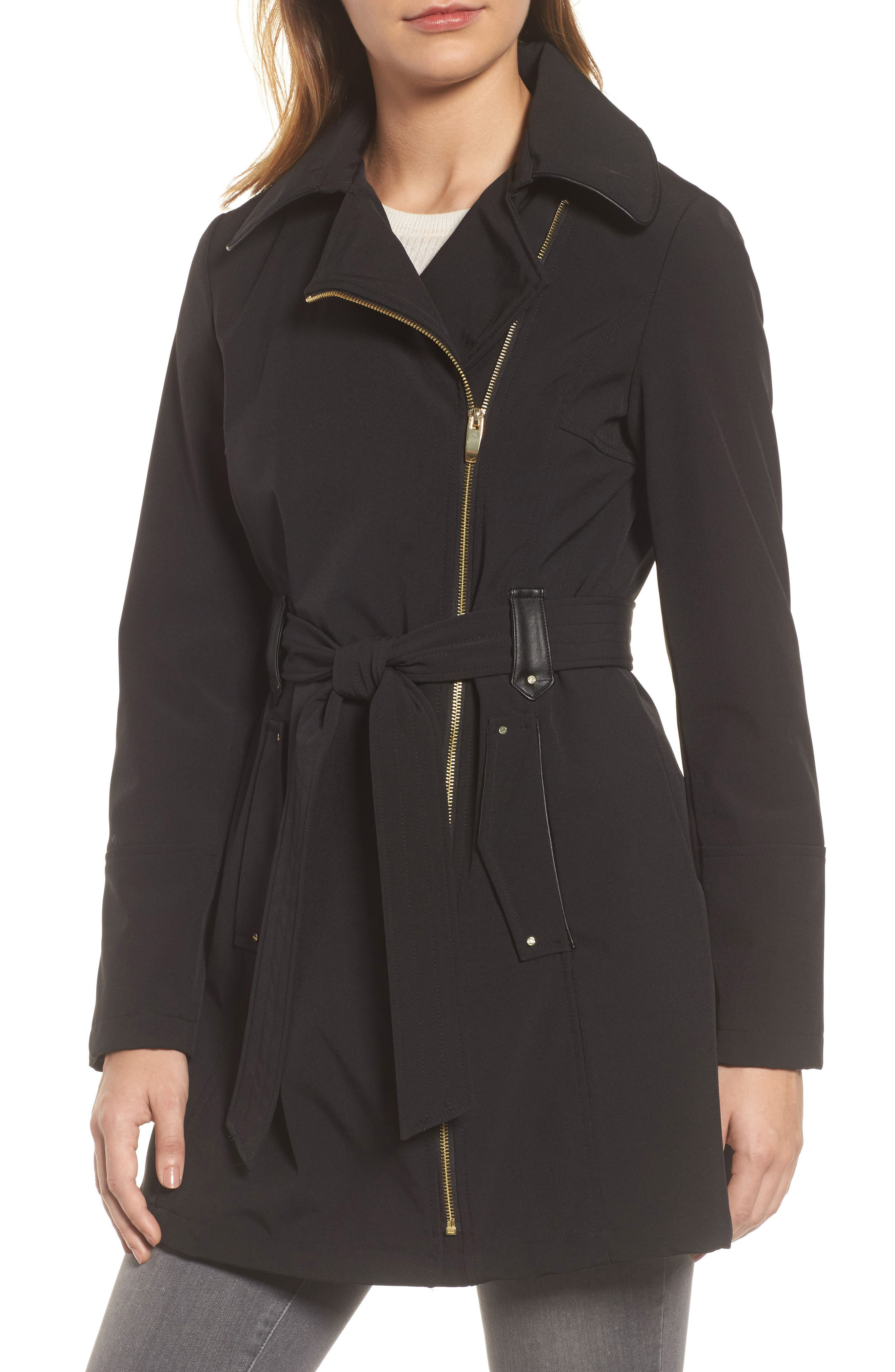 Belted Soft Shell Jacket,                             Alternate thumbnail 4, color,                             001