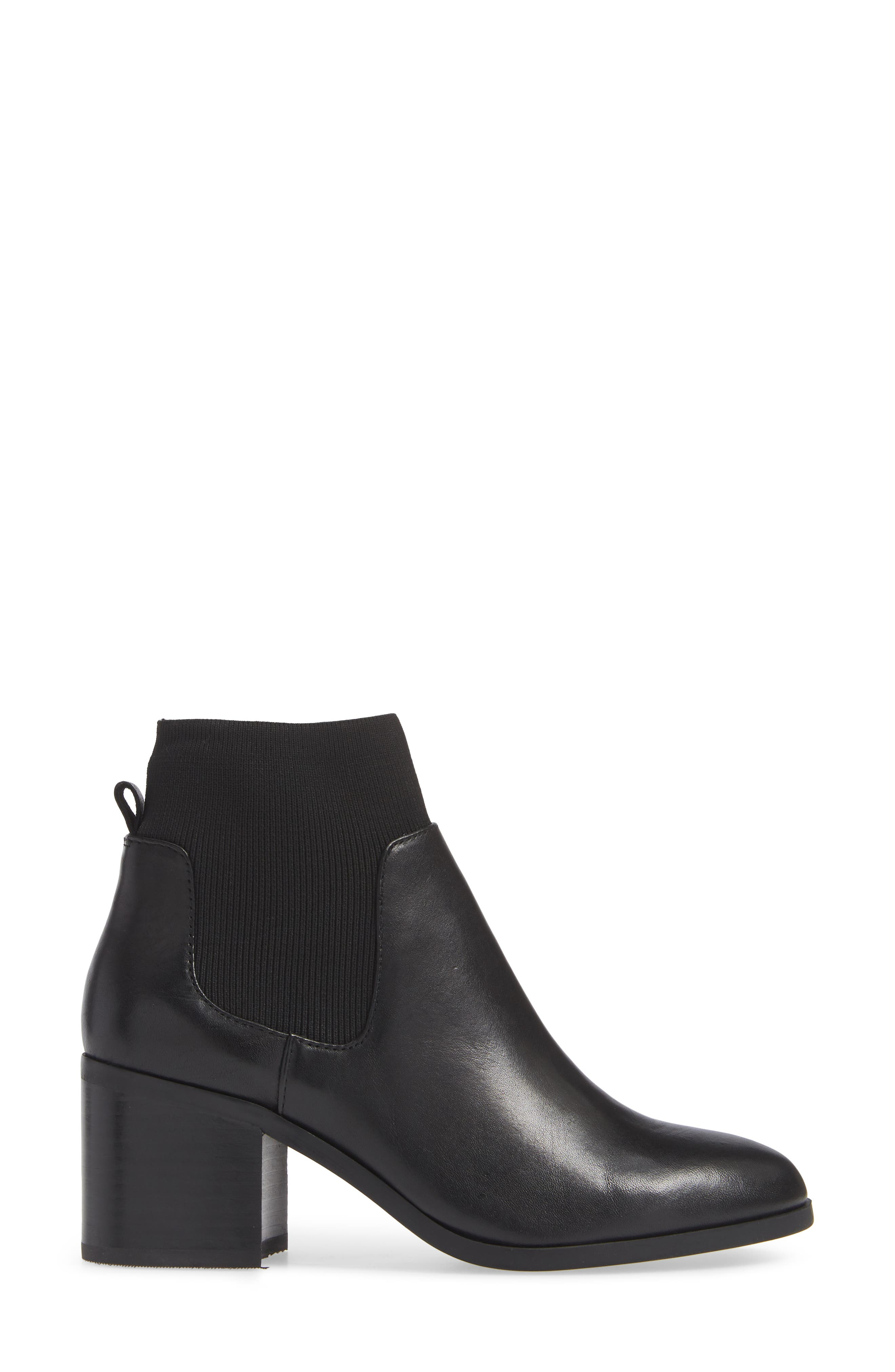 Erika Bootie,                             Alternate thumbnail 3, color,                             BLACK LEATHER