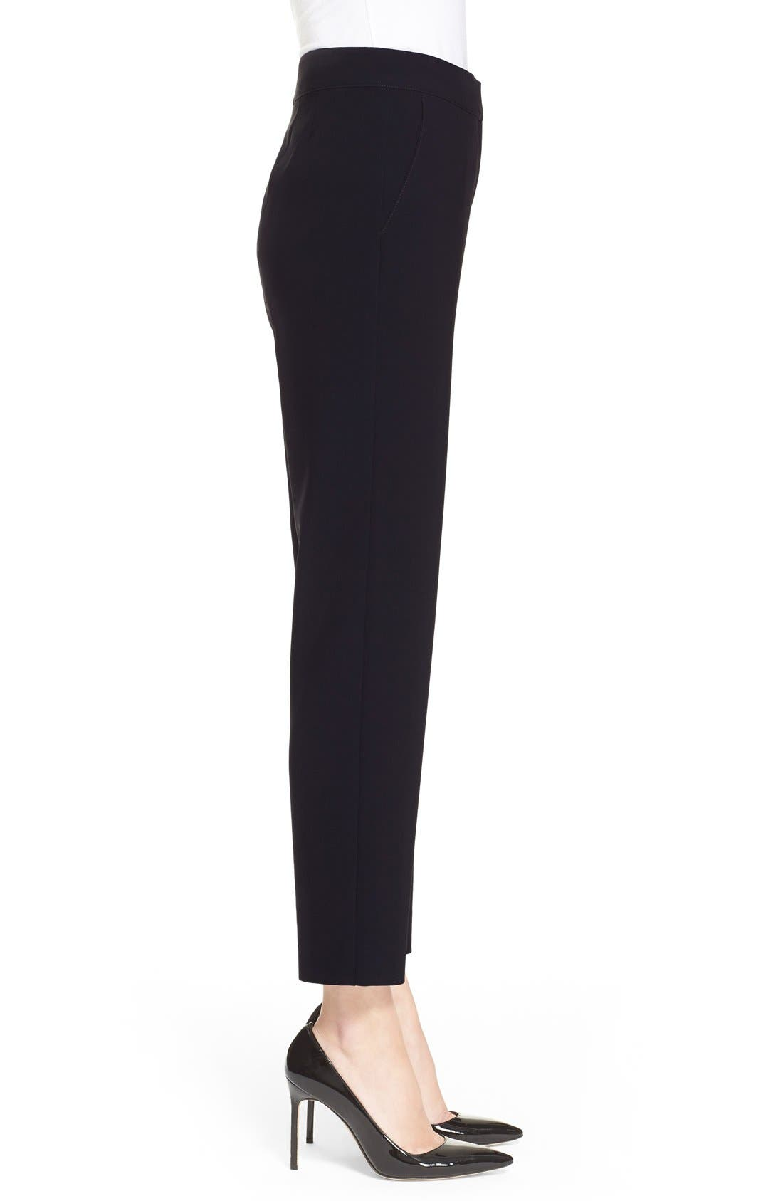 'Emma' Crop Crepe Marocain Pants,                             Alternate thumbnail 6, color,                             CAVIAR
