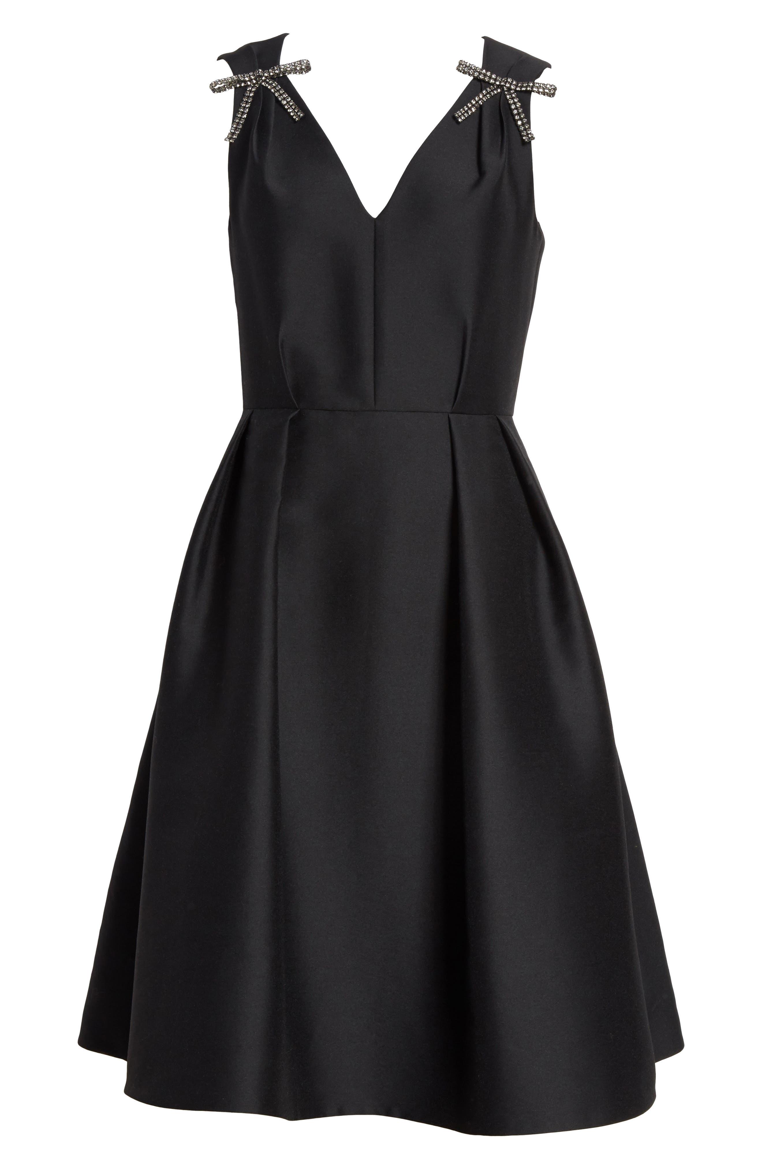 bow embellished fit & flare dress,                             Alternate thumbnail 6, color,                             001