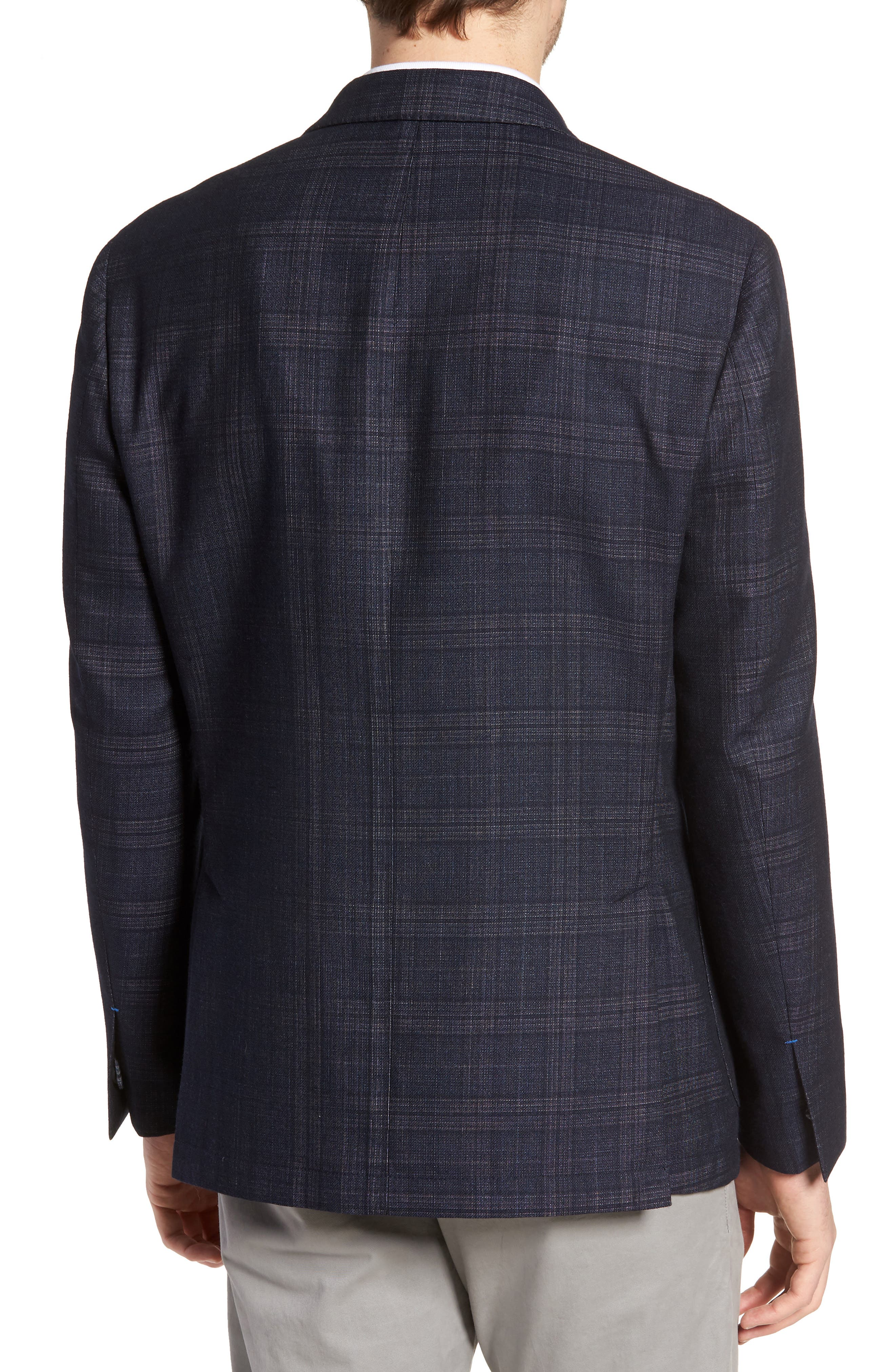 VINCE CAMUTO,                             Dell Aria Unconstructed Sport Coat,                             Alternate thumbnail 2, color,                             NAVY GRIN THRU