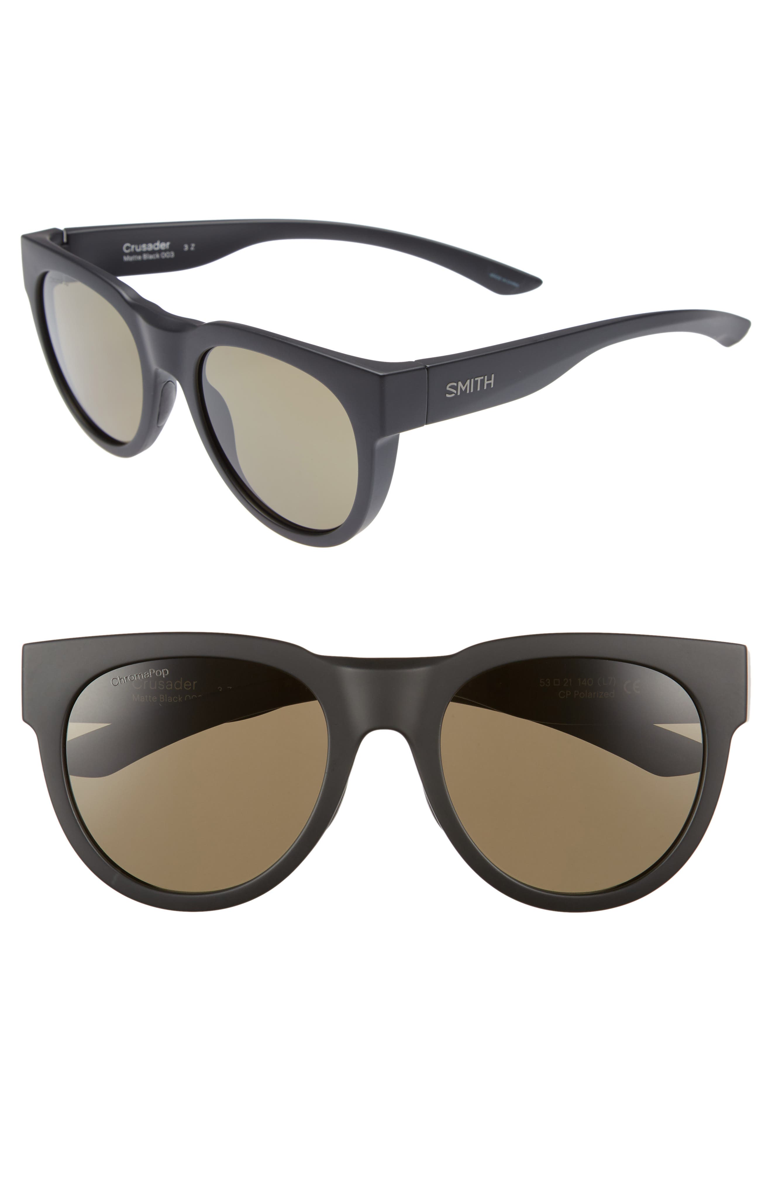 Crusader 53mm ChromaPop<sup>™</sup> Round Sunglasses,                         Main,                         color, MATTE BLACK