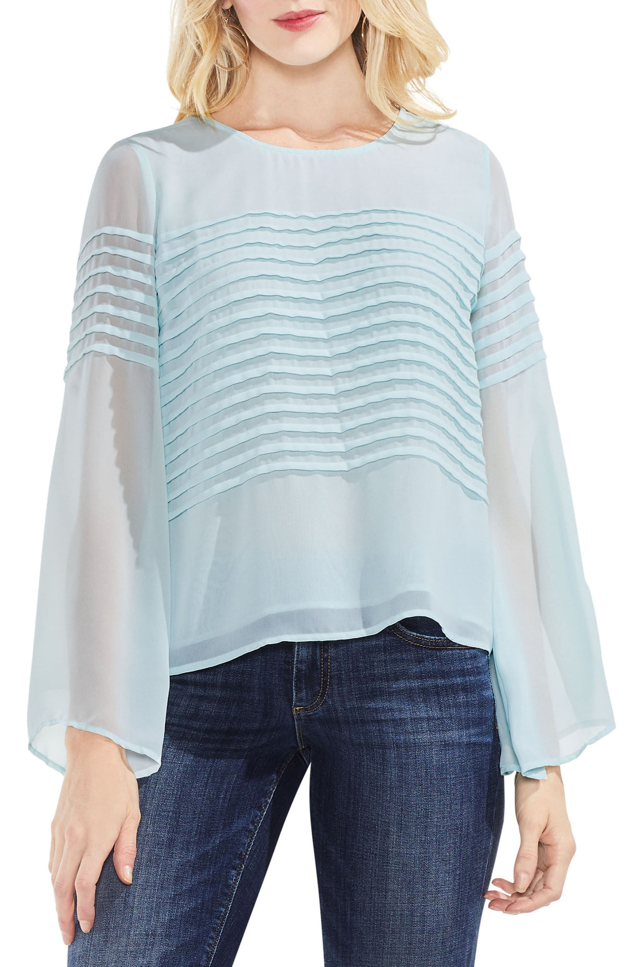 Pintuck Detail Bell Sleeve Blouse,                         Main,                         color, 421