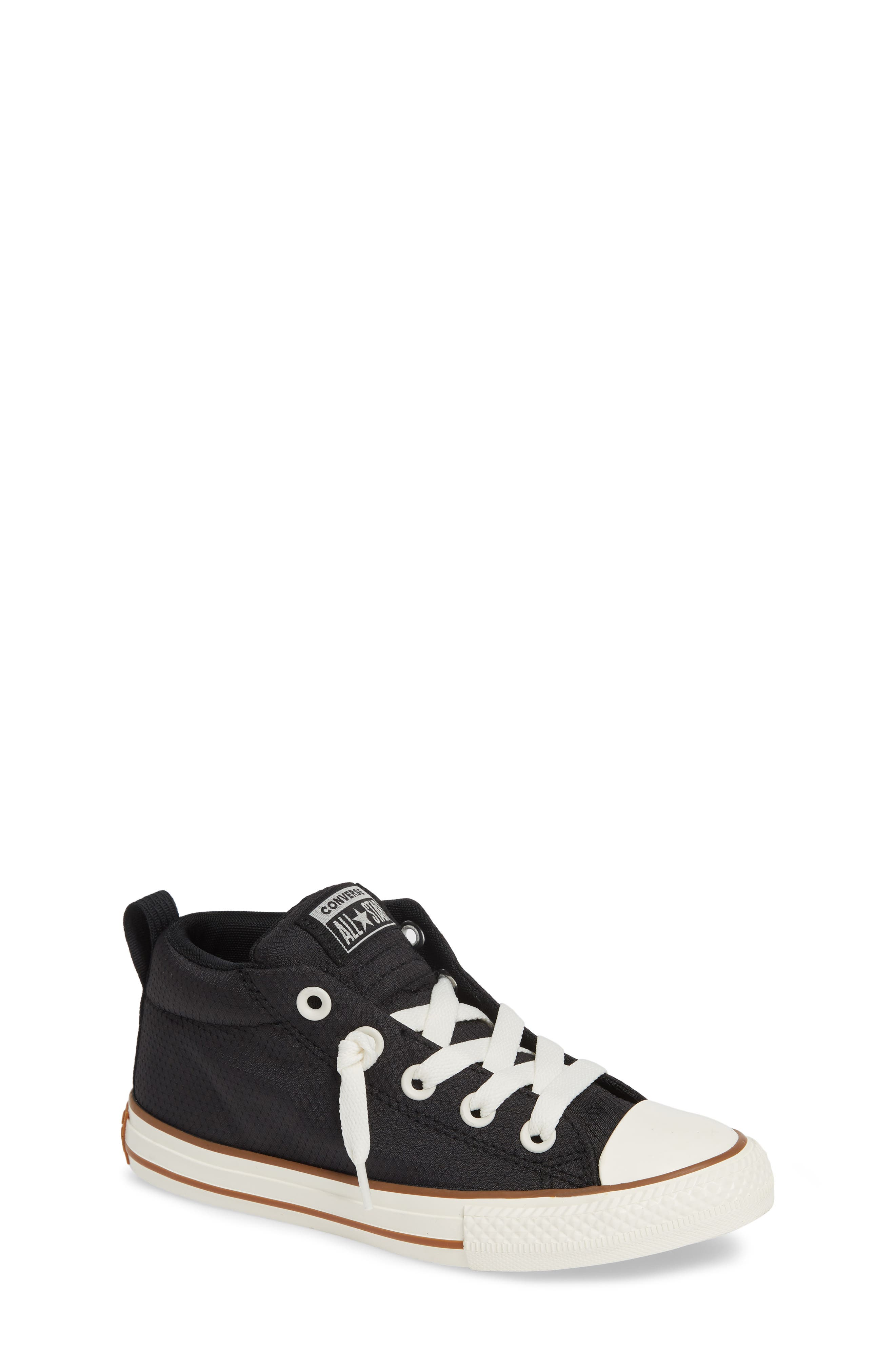 Chuck Taylor<sup>®</sup> All Star<sup>®</sup> Street Mid Top Sneaker,                         Main,                         color, BLACK/ GUM/ EGRET