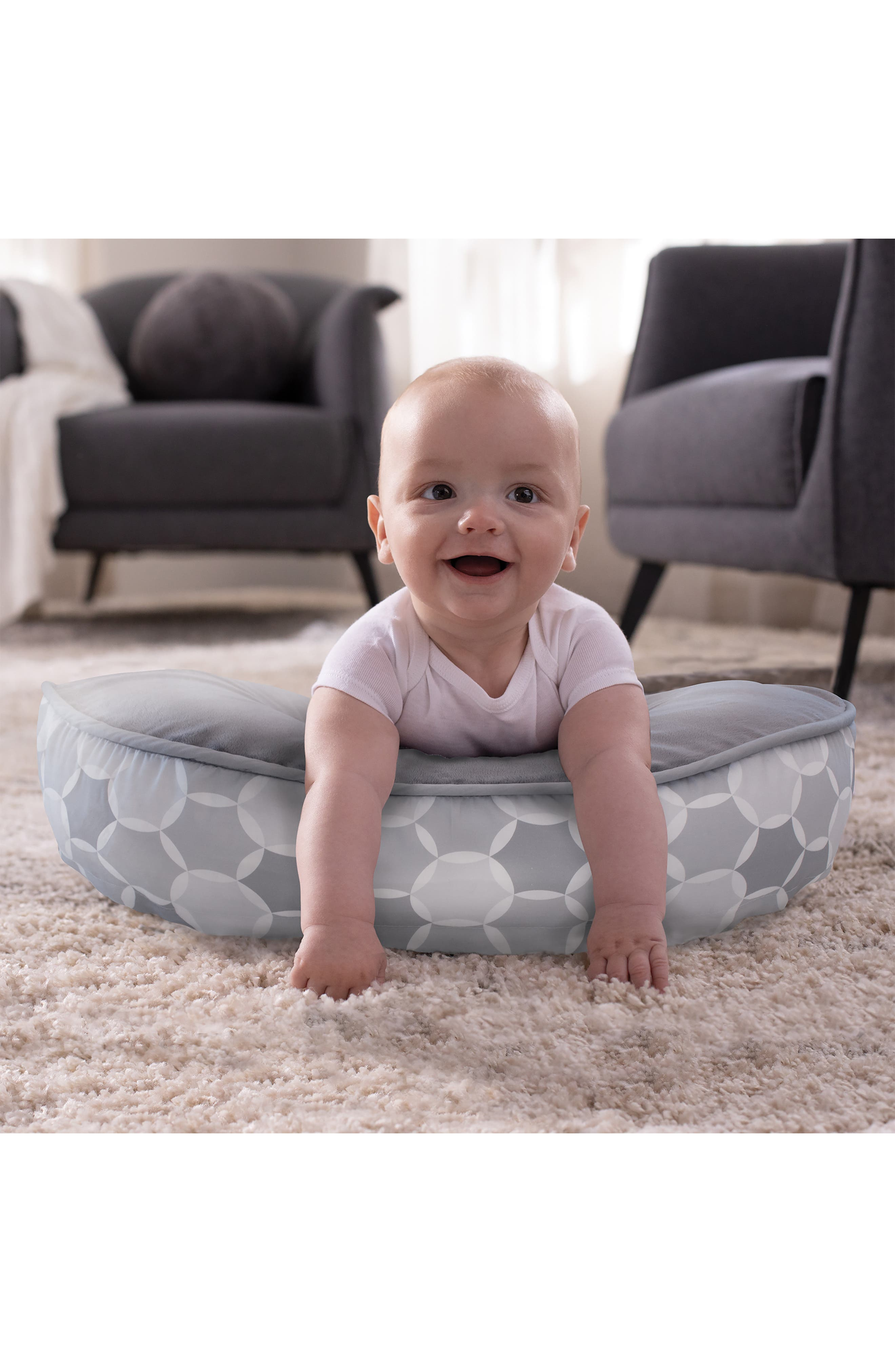 Minky Two-Sided Plush Feeding & Infant Support Pillow,                             Alternate thumbnail 7, color,                             GREY
