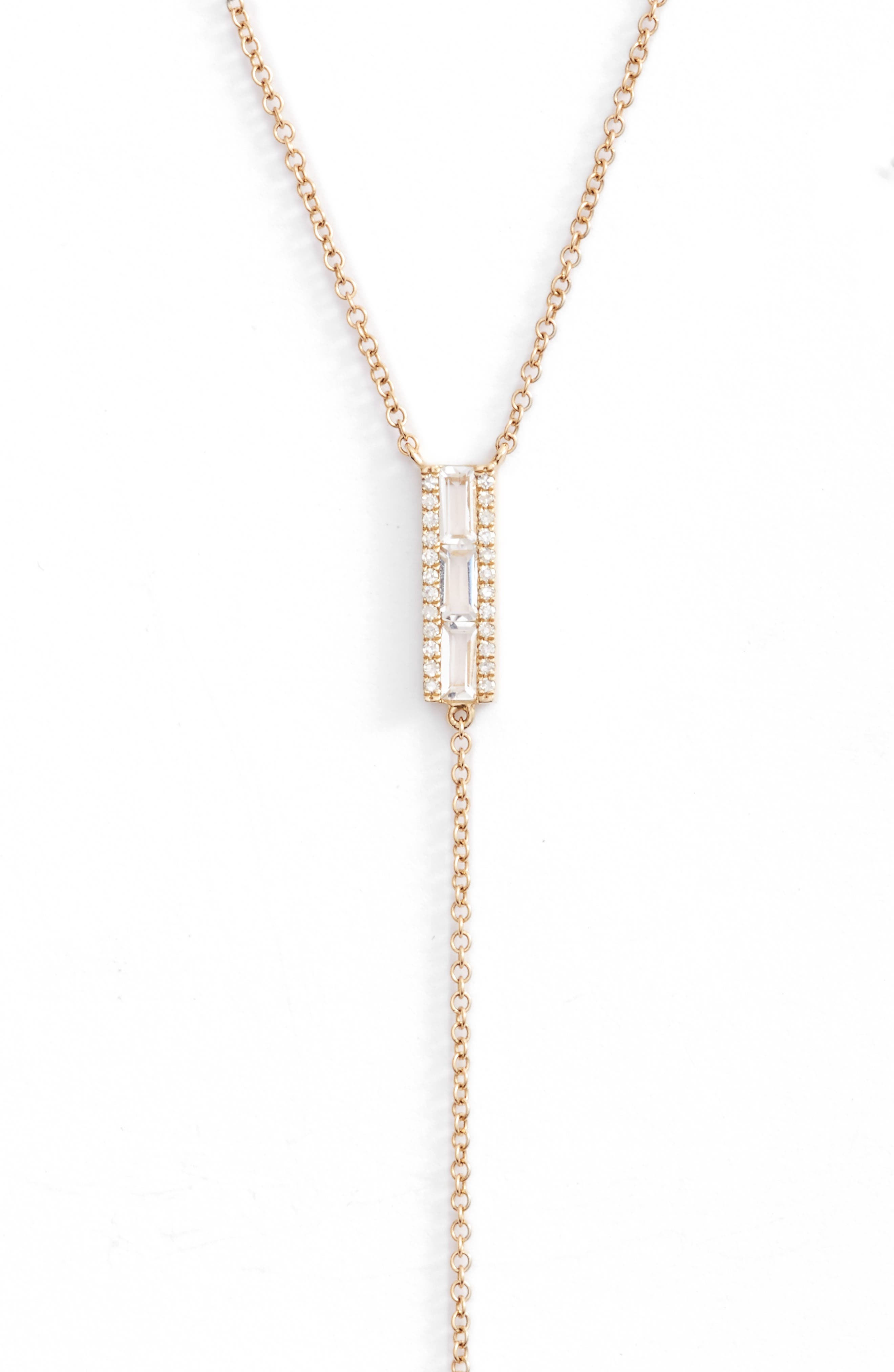 Diamond & Topaz Baguette Bar Y-Necklace,                             Alternate thumbnail 2, color,