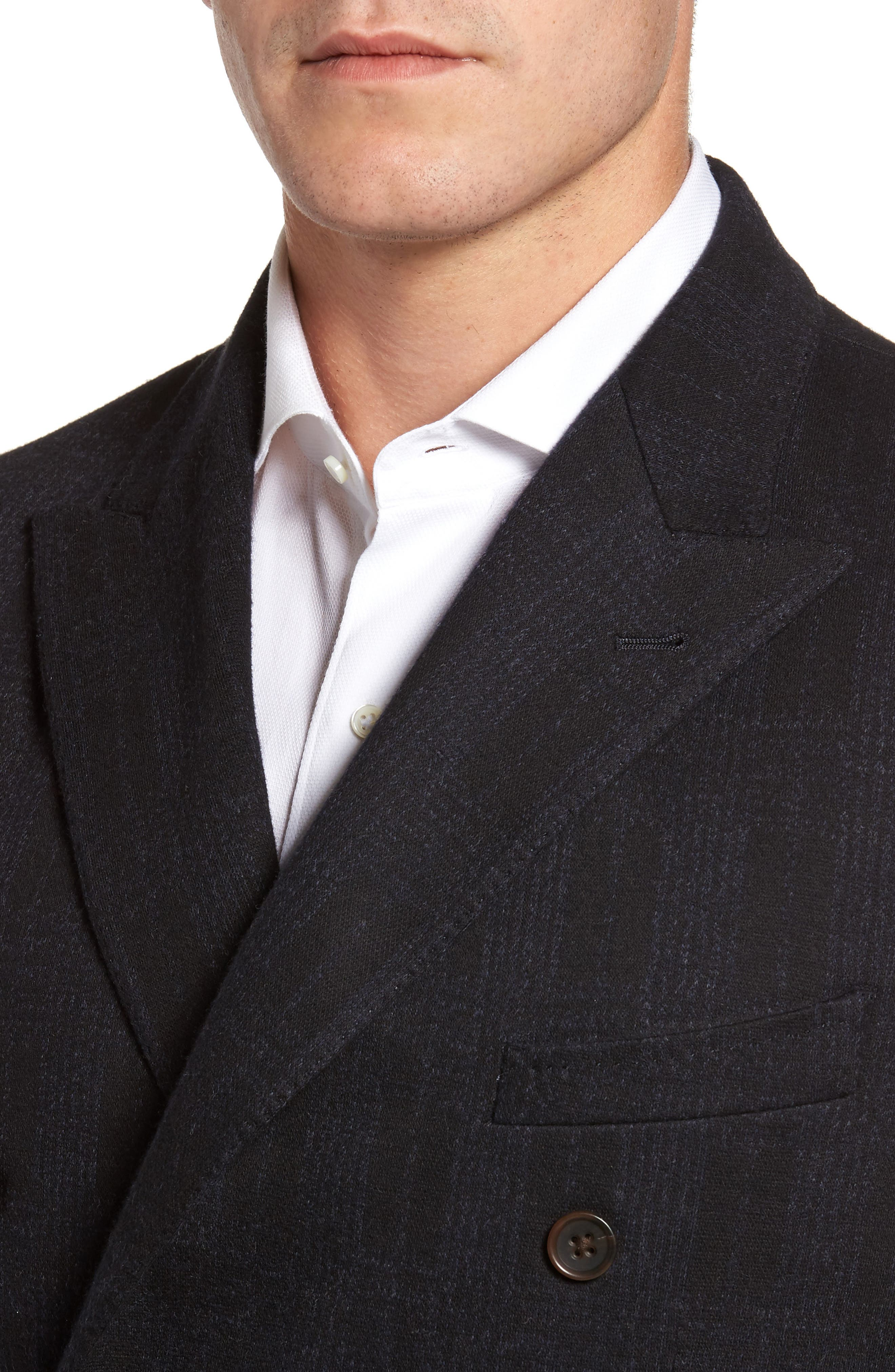 Classic Fit Jersey Double-Breasted Sport Coat,                             Alternate thumbnail 4, color,                             001