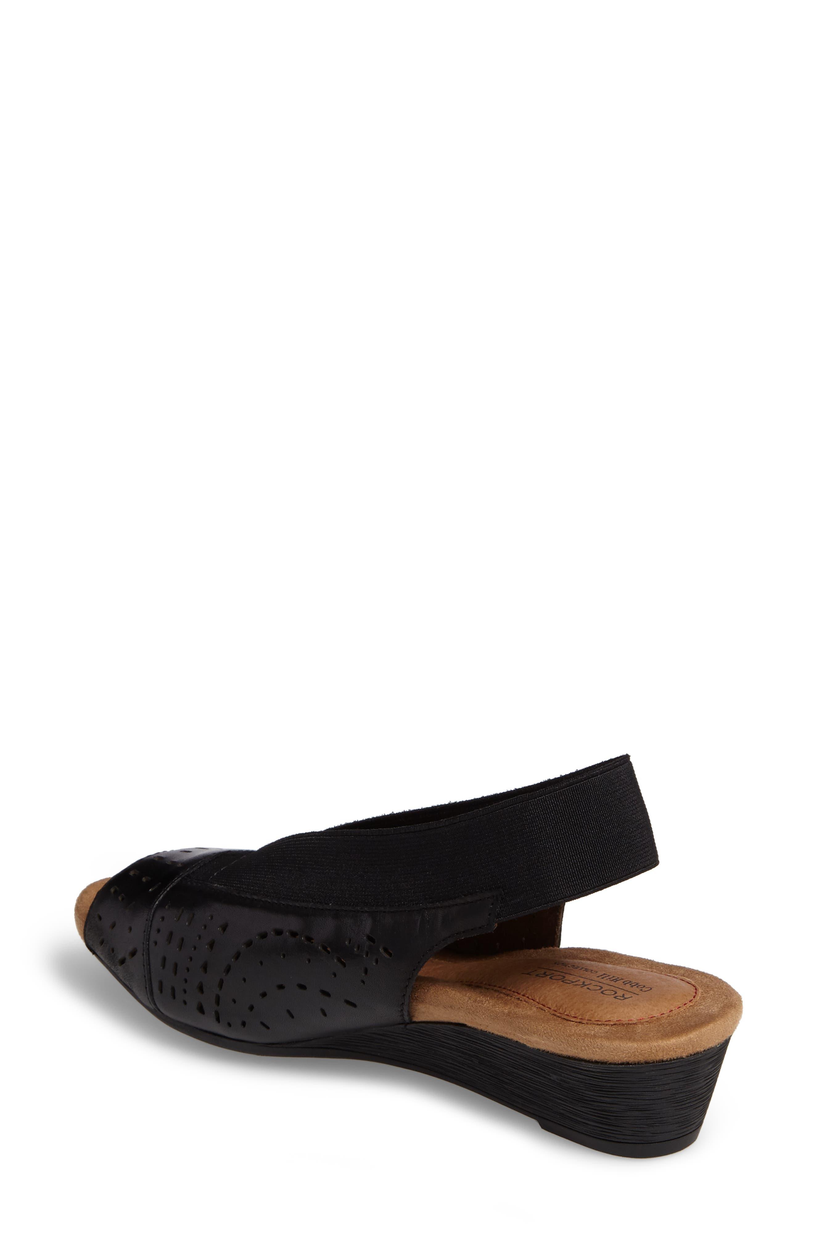 Judson Slingback Wedge Sandal,                             Alternate thumbnail 2, color,                             BLACK LEATHER