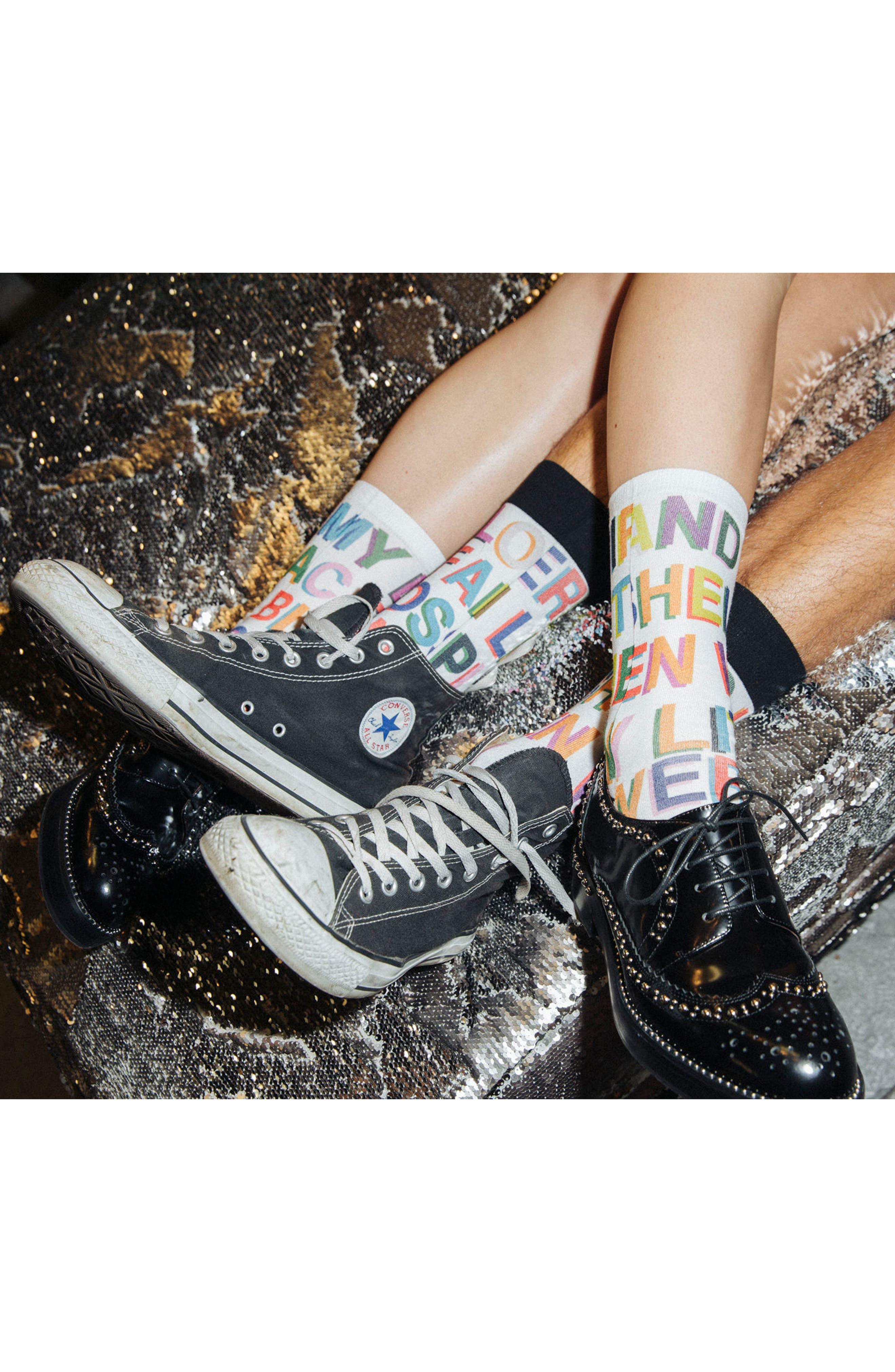 x Libertine Love Letters Crew Socks,                             Alternate thumbnail 4, color,