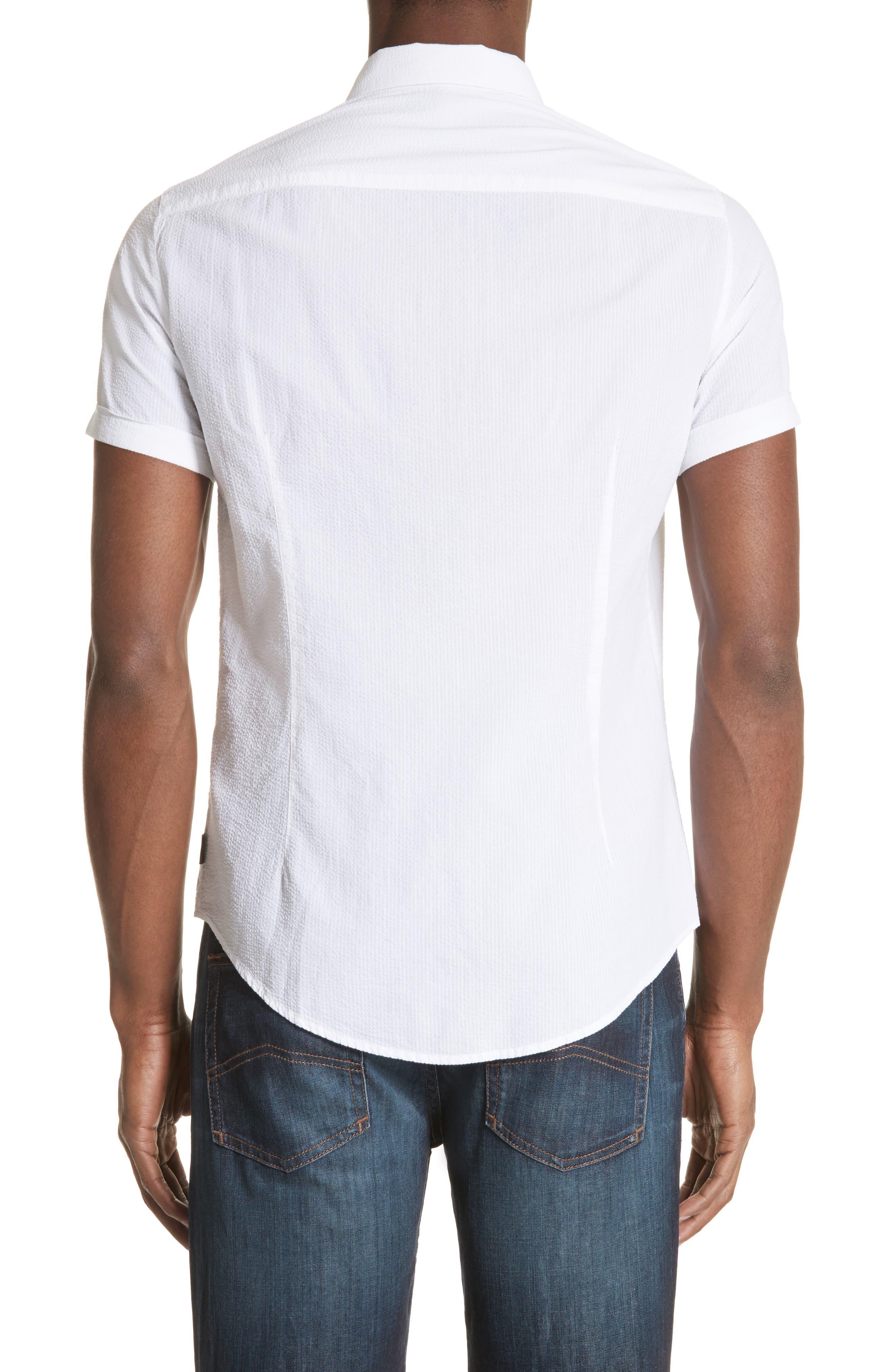 Regular Fit Short Sleeve Sport Shirt,                             Alternate thumbnail 2, color,                             BIANCO OTTICO