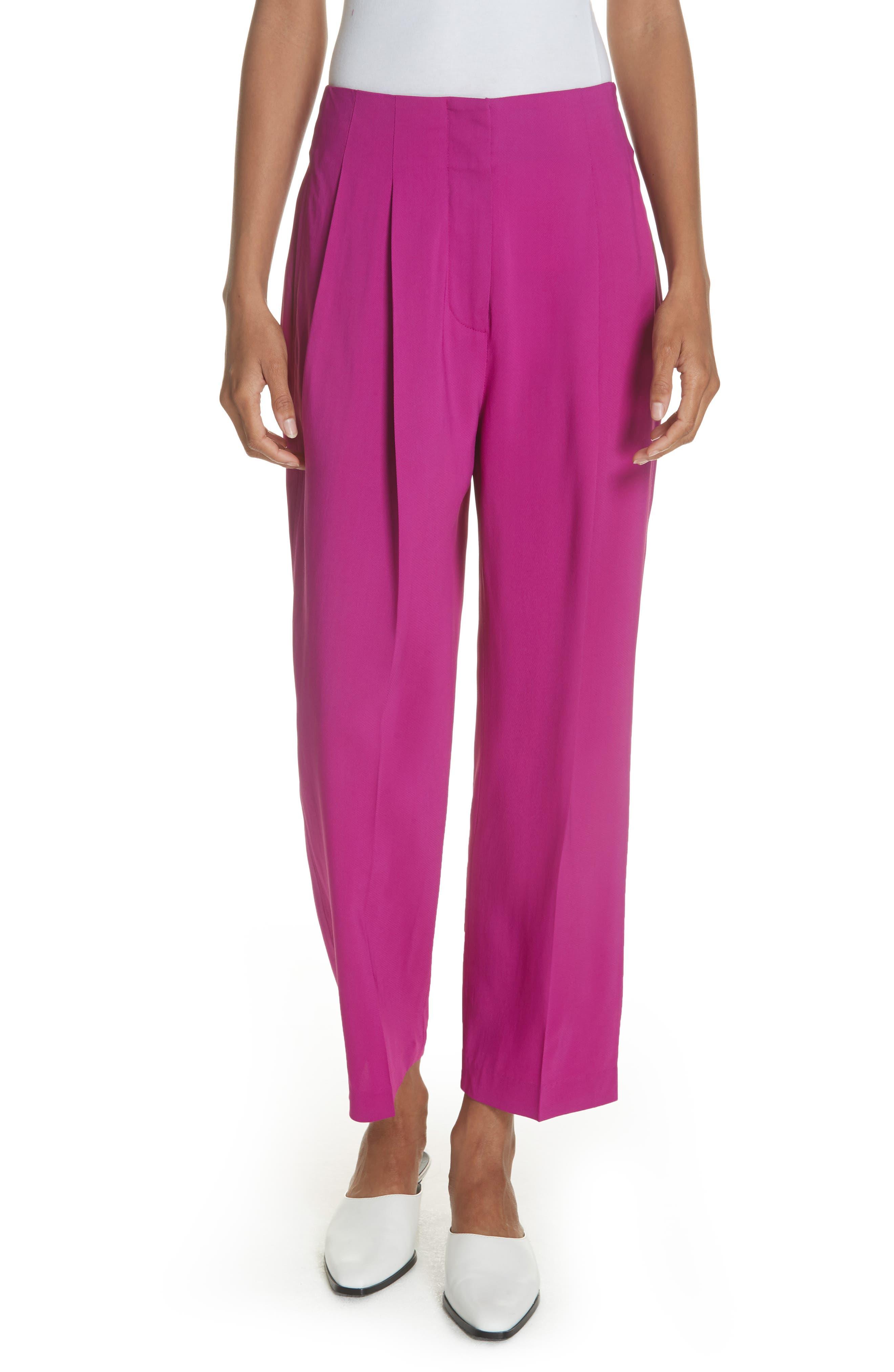 Pleated Crop Trousers,                         Main,                         color, FUCHSIA