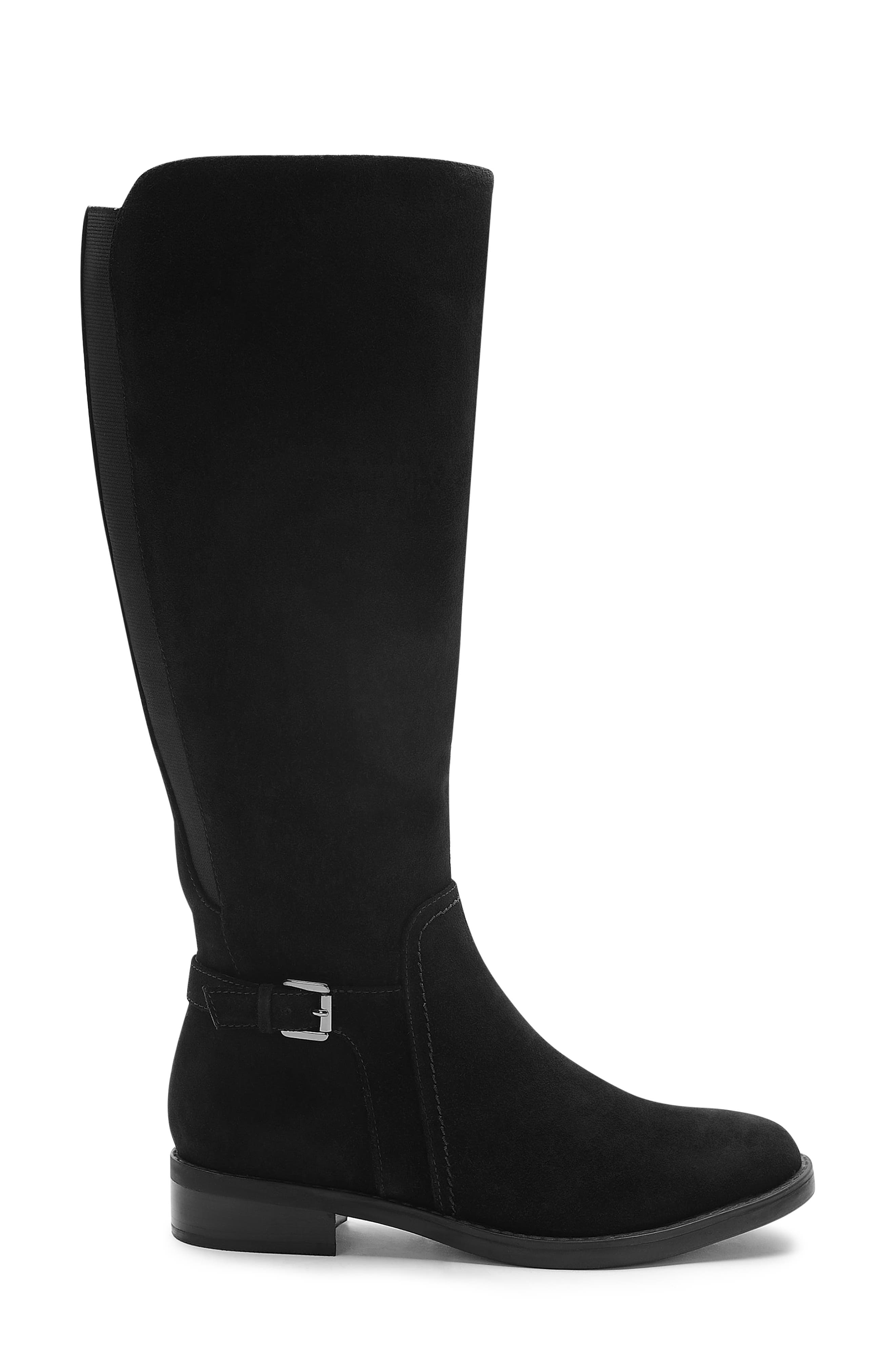 Evie Riding Boot,                             Alternate thumbnail 3, color,                             BLACK SUEDE