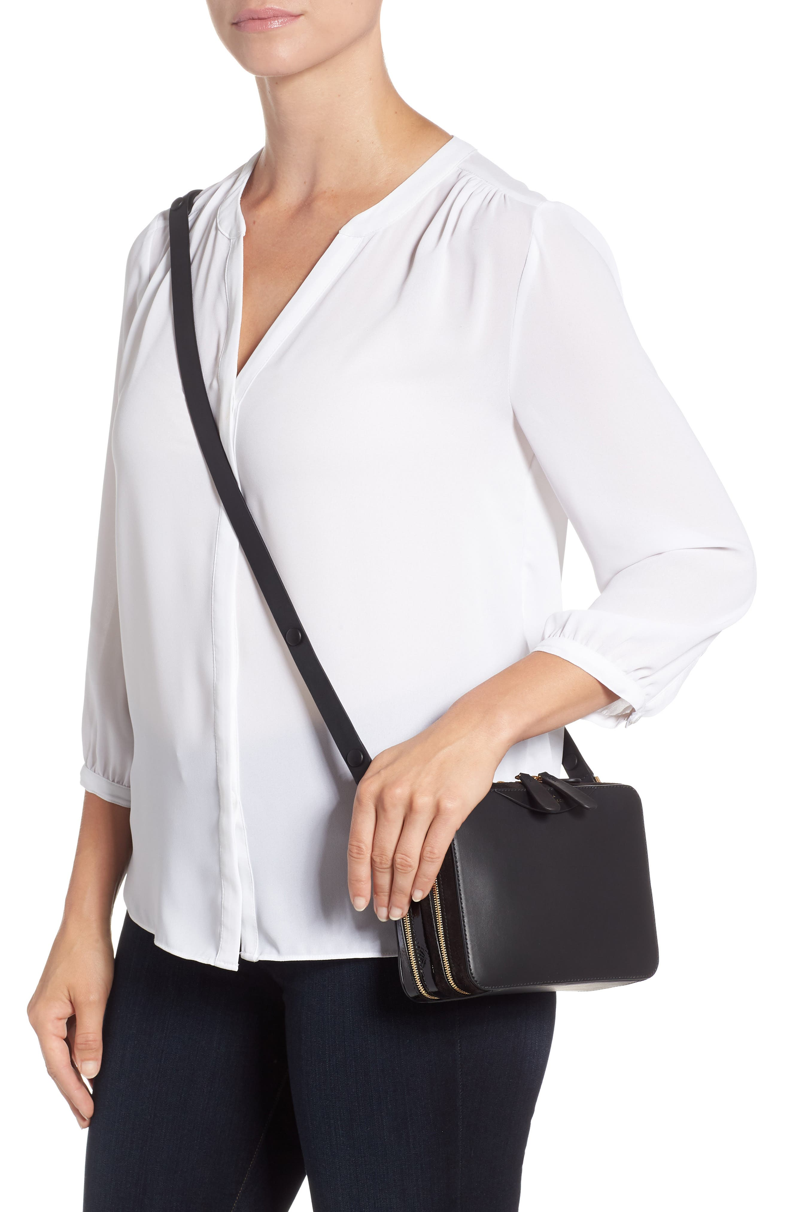 The Double Stack Leather Crossbody Bag,                             Alternate thumbnail 2, color,                             001