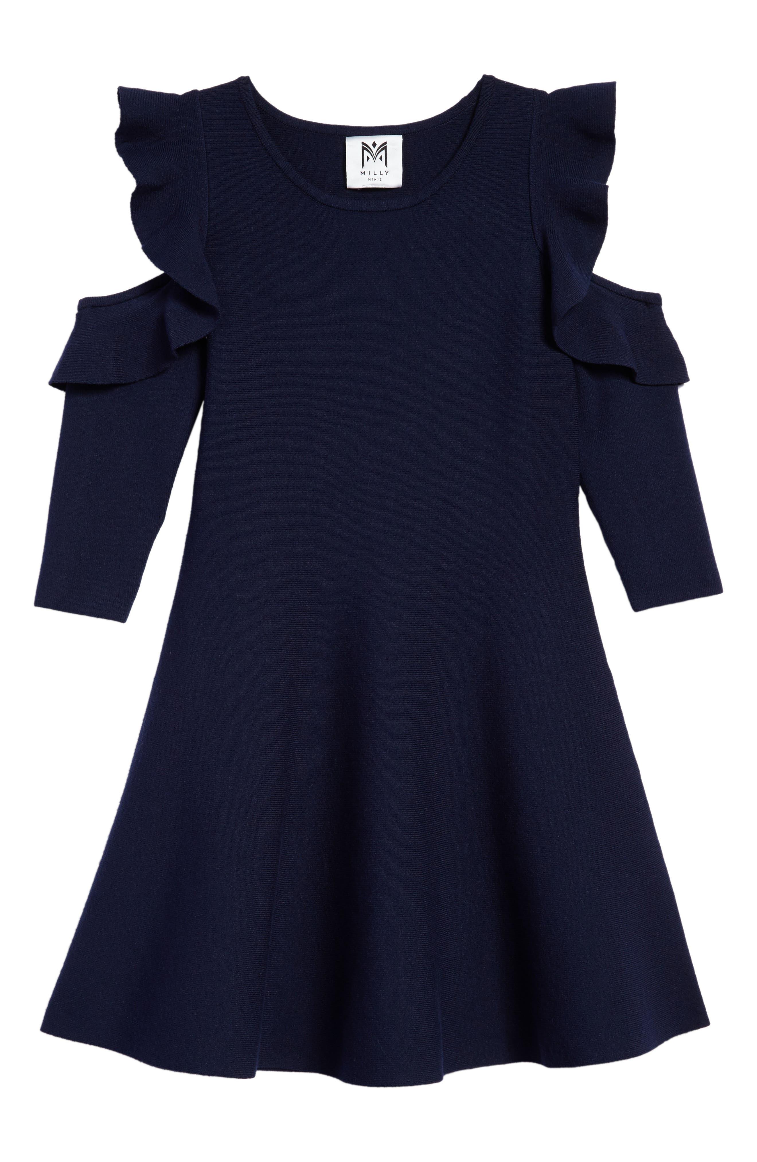 MILLY MINIS,                             Cold Shoulder Skater Dress,                             Main thumbnail 1, color,                             410