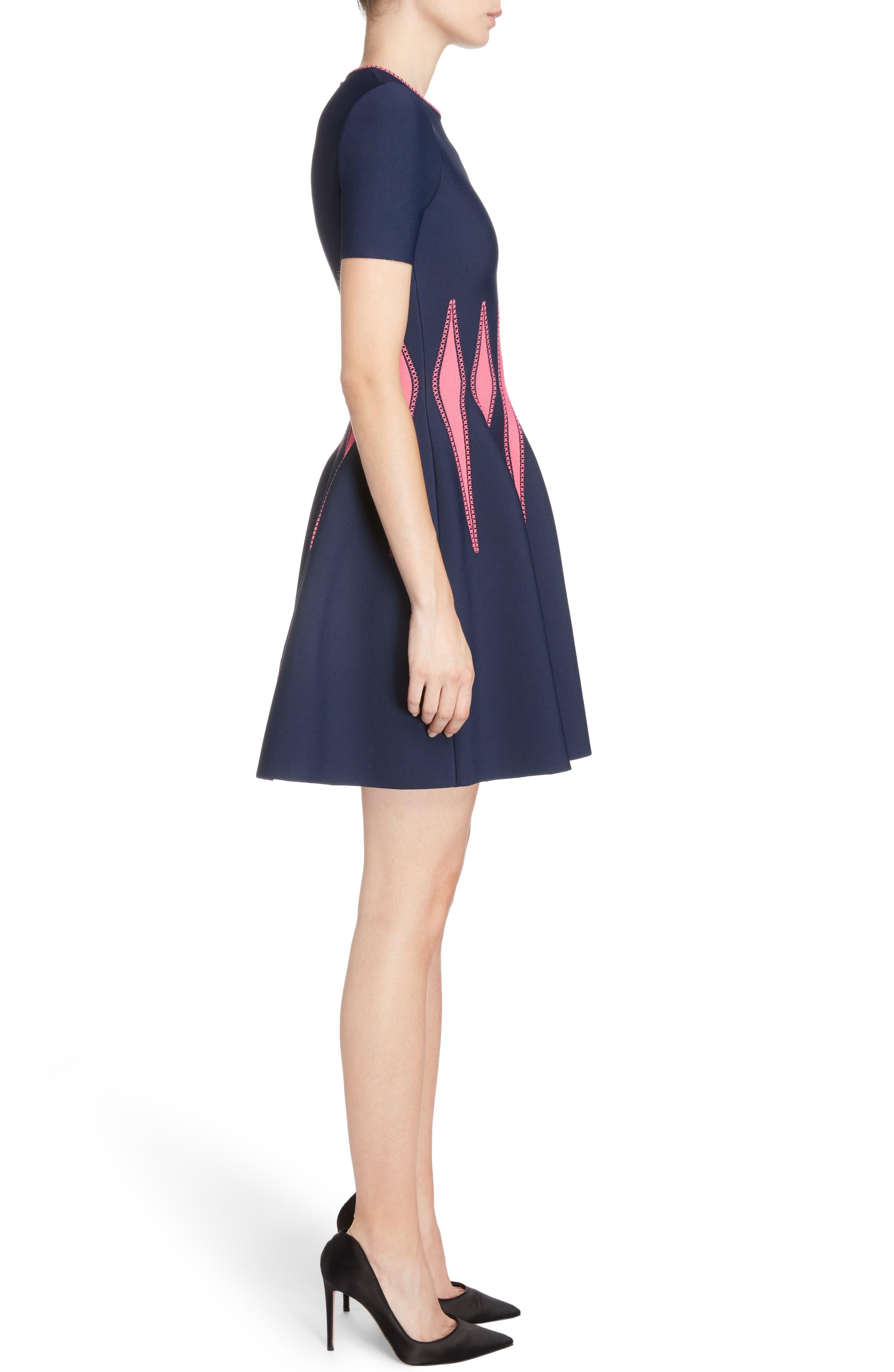 Corset Stitch Fit & Flare Dress,                             Alternate thumbnail 3, color,                             409
