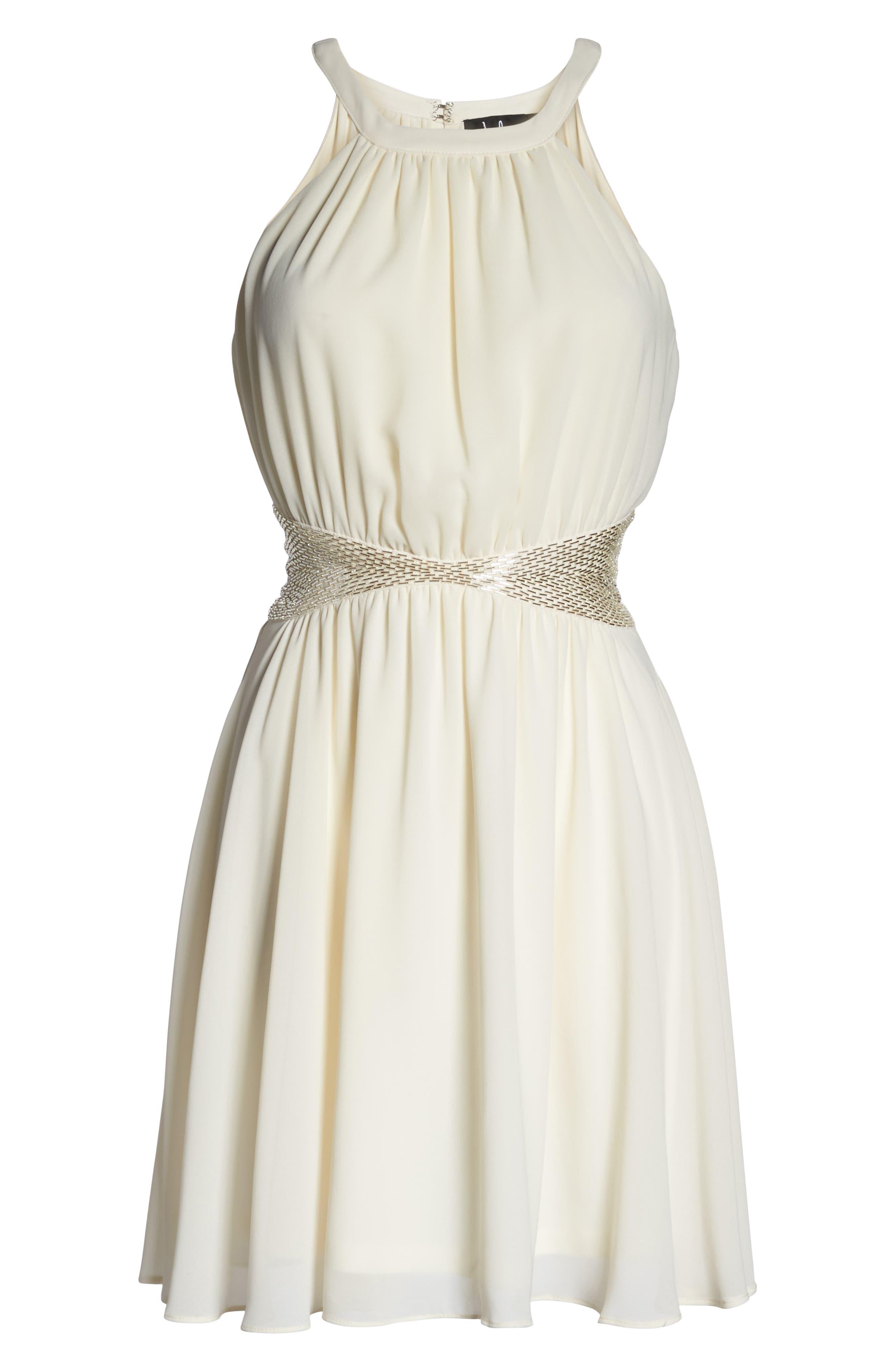 One More Night Beaded Skater Dress,                             Alternate thumbnail 6, color,                             900