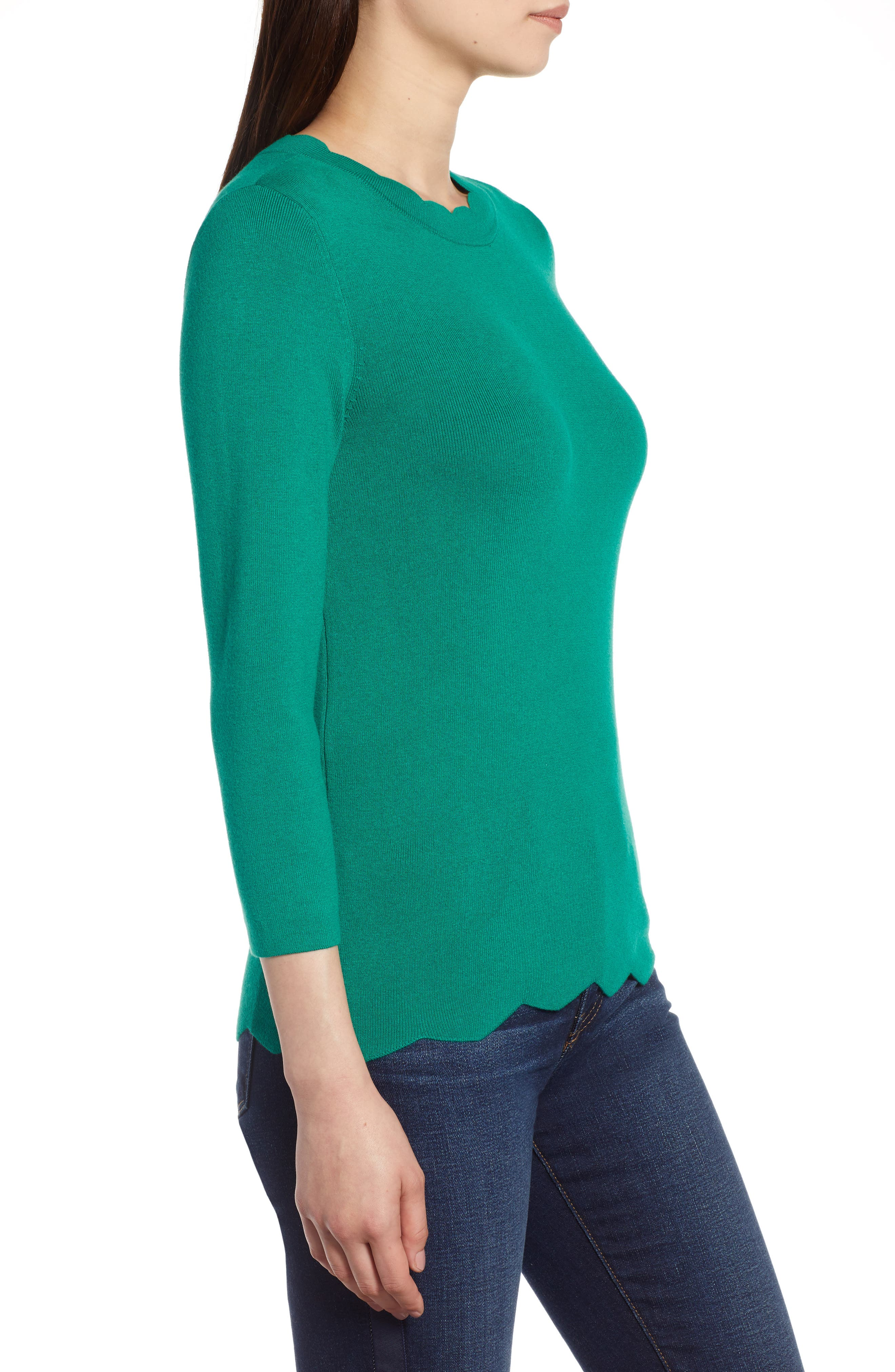 Halogen Scallop Edge Sweater,                             Alternate thumbnail 24, color,