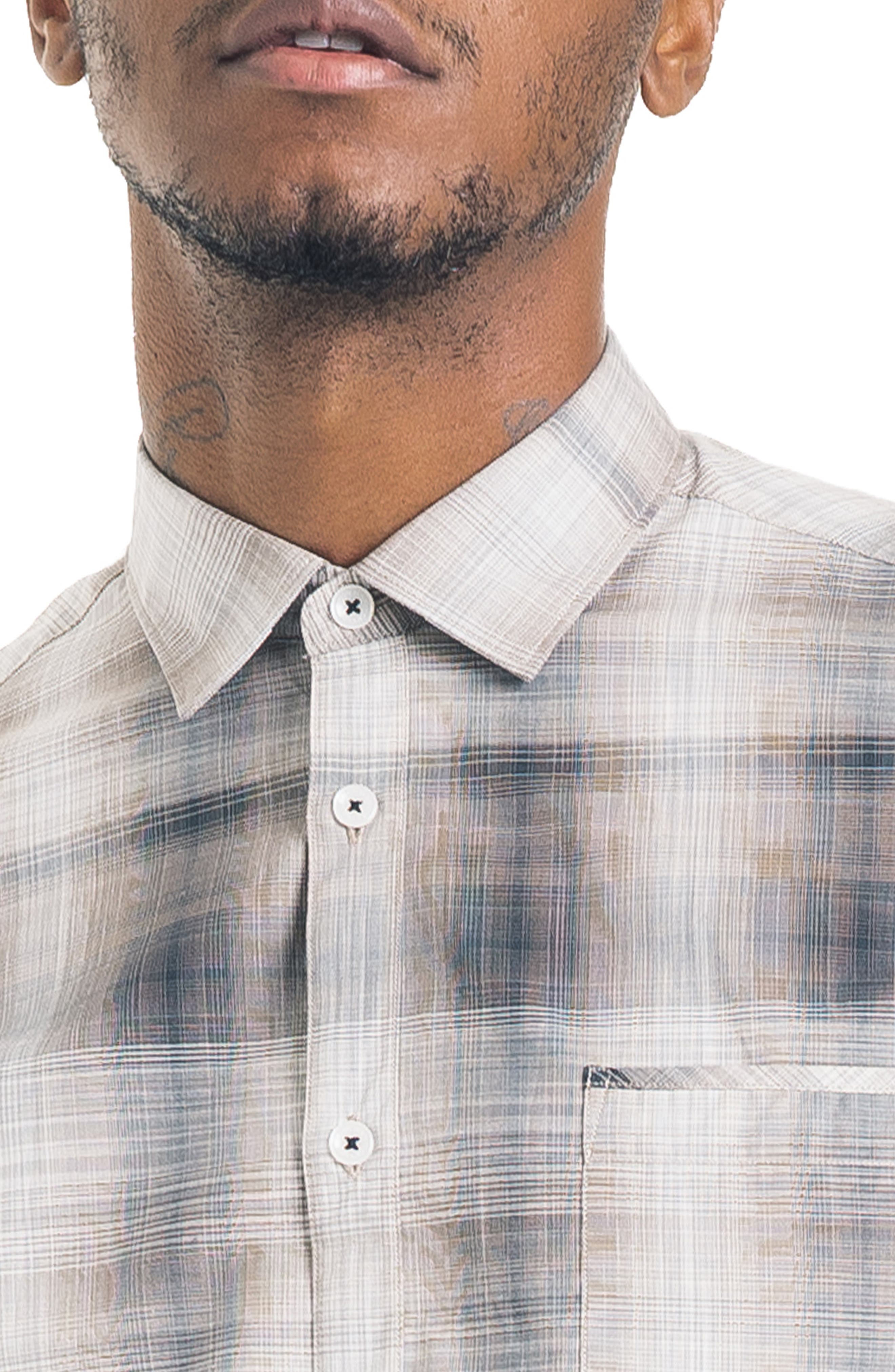 Hamachi Slim Fit Plaid Sport Shirt,                             Alternate thumbnail 4, color,                             DESERT