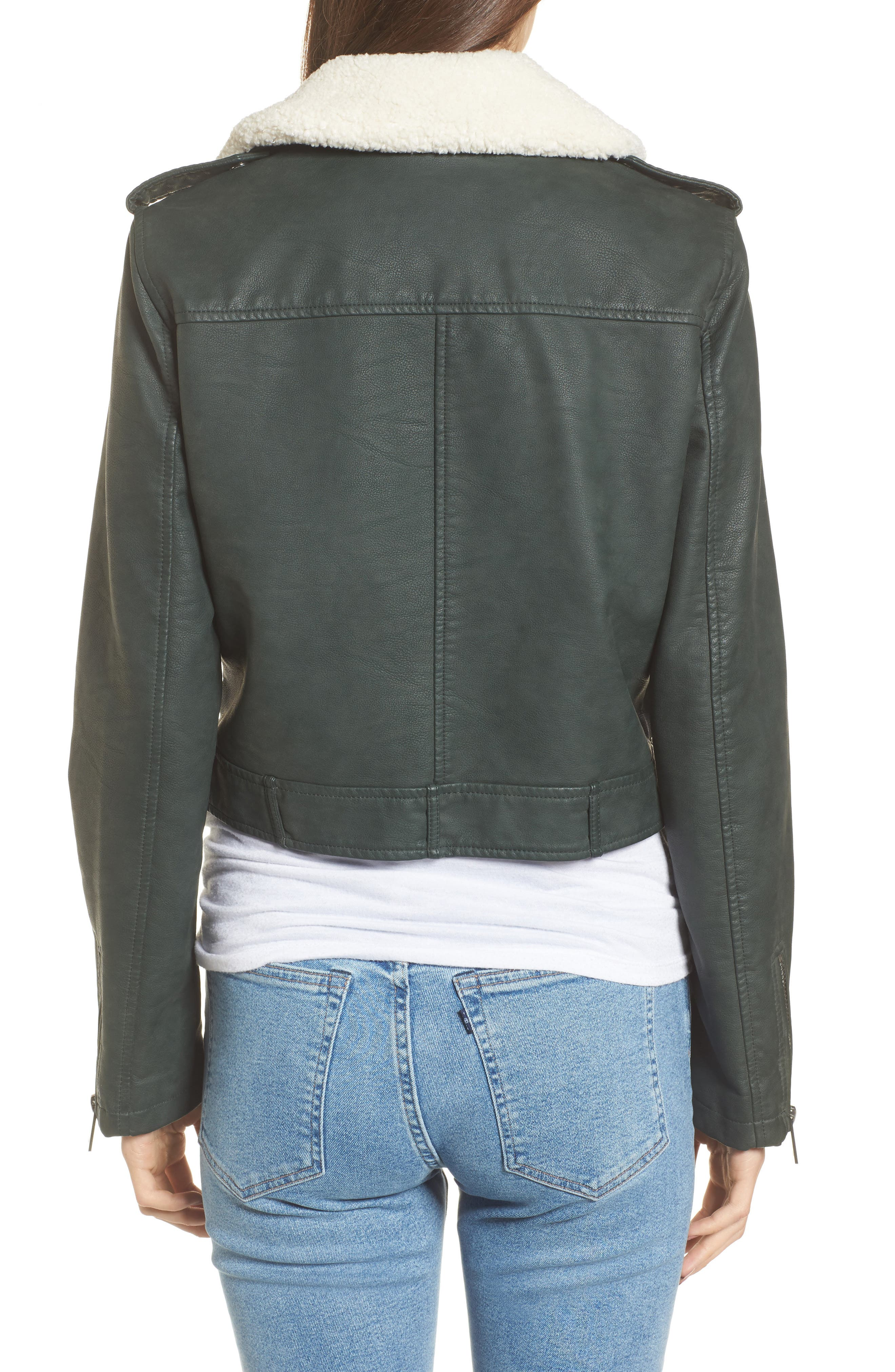 Levis<sup>®</sup> Sherpa Faux Leather Moto Jacket with Faux Fur Collar,                             Alternate thumbnail 4, color,
