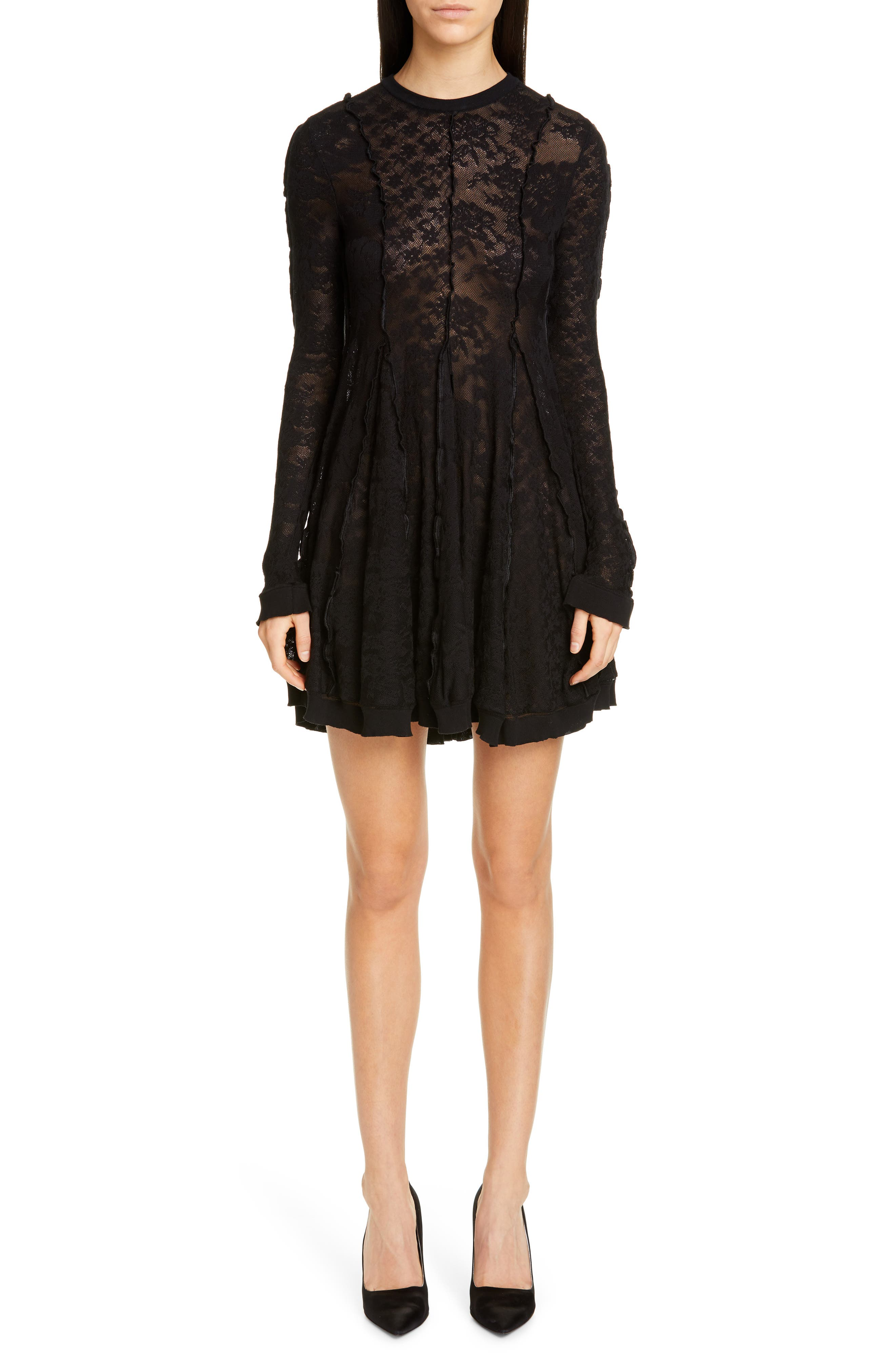 Stella Mccartney Long Sleeve Linear Lace Skater Dress, 4 IT - Black