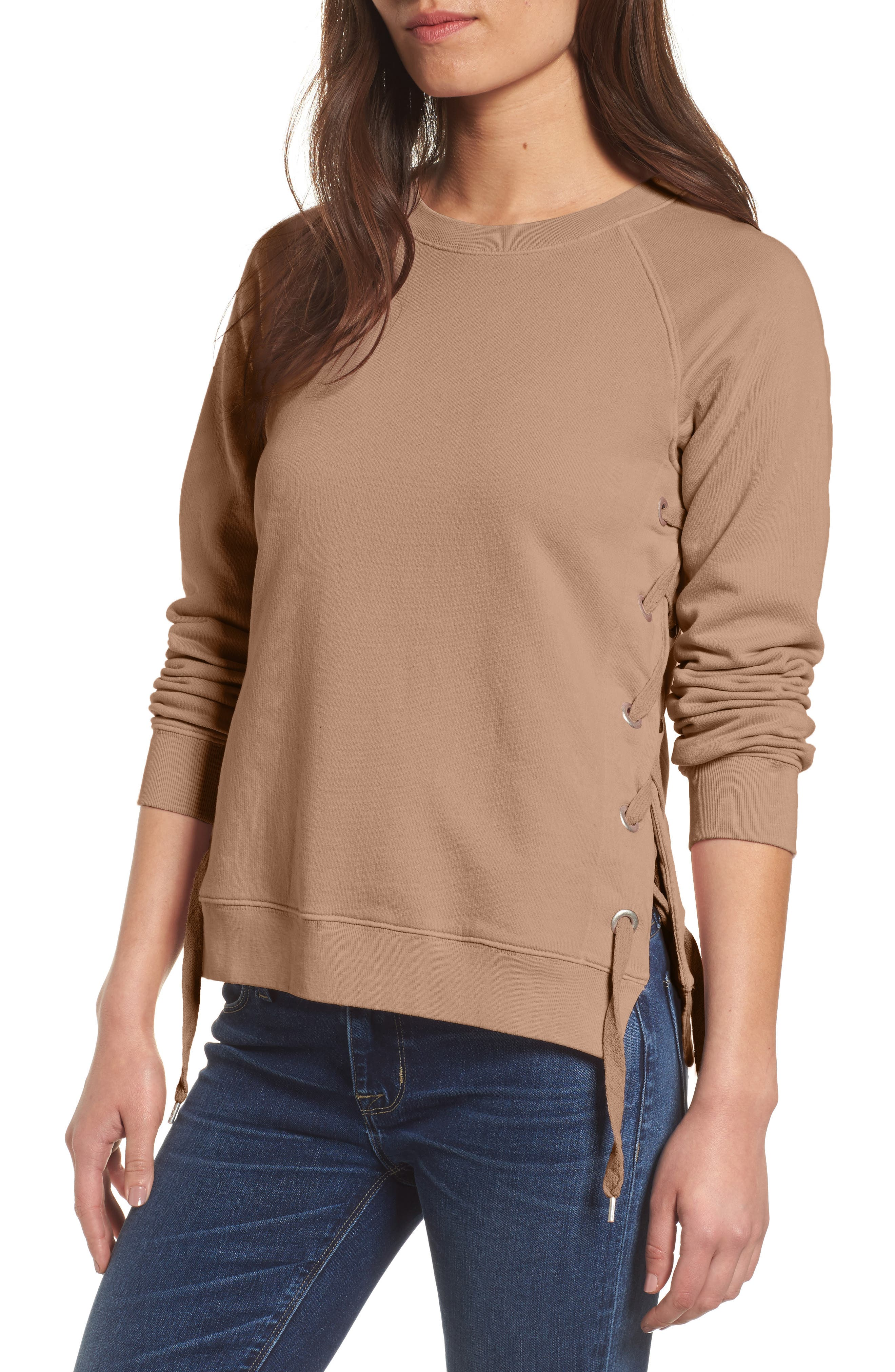 Side-Lace Sweatshirt,                         Main,                         color, 200