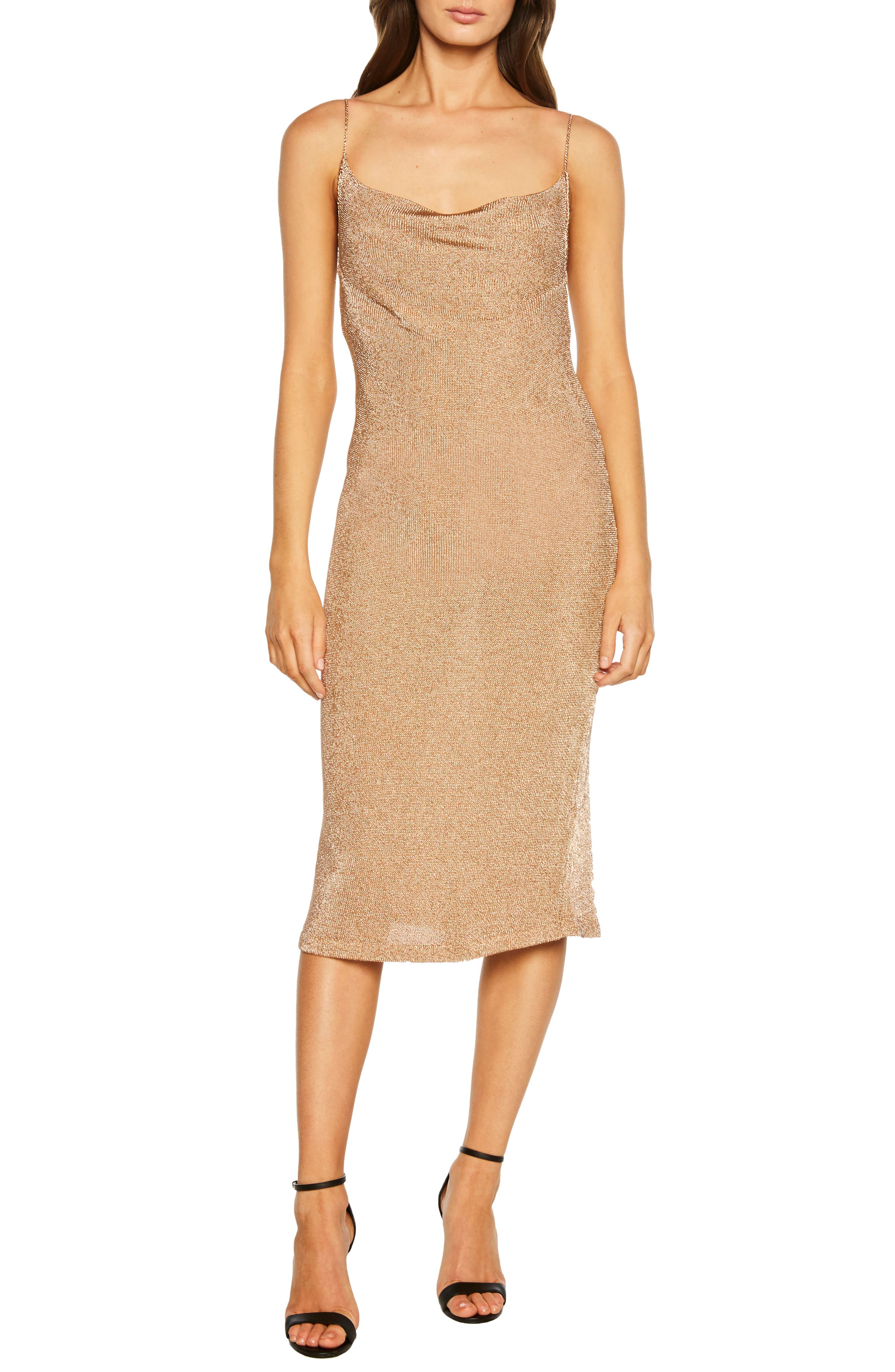 Bardot Dani Metallic Slipdress, Metallic