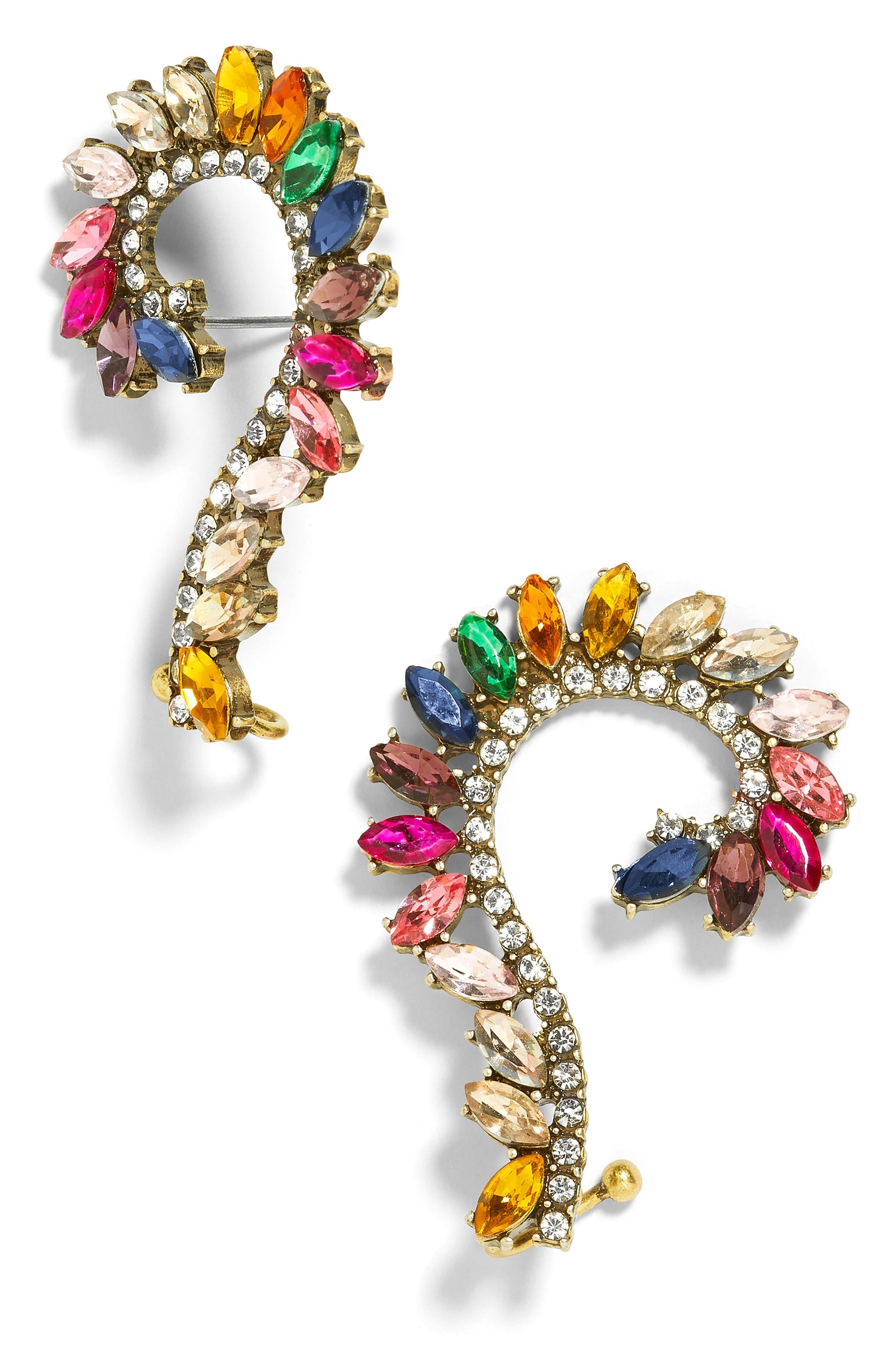 BAUBLEBAR Geovana Rainbow Crystal Ear Crawlers, Main, color, 040
