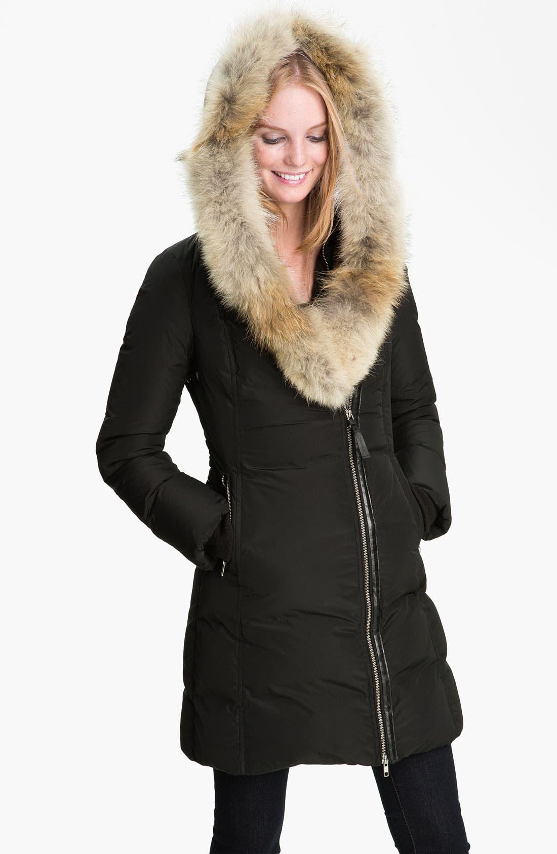 MACKAGE,                             Long Down Coat with Genuine Coyote & Rabbit Fur,                             Alternate thumbnail 2, color,                             001