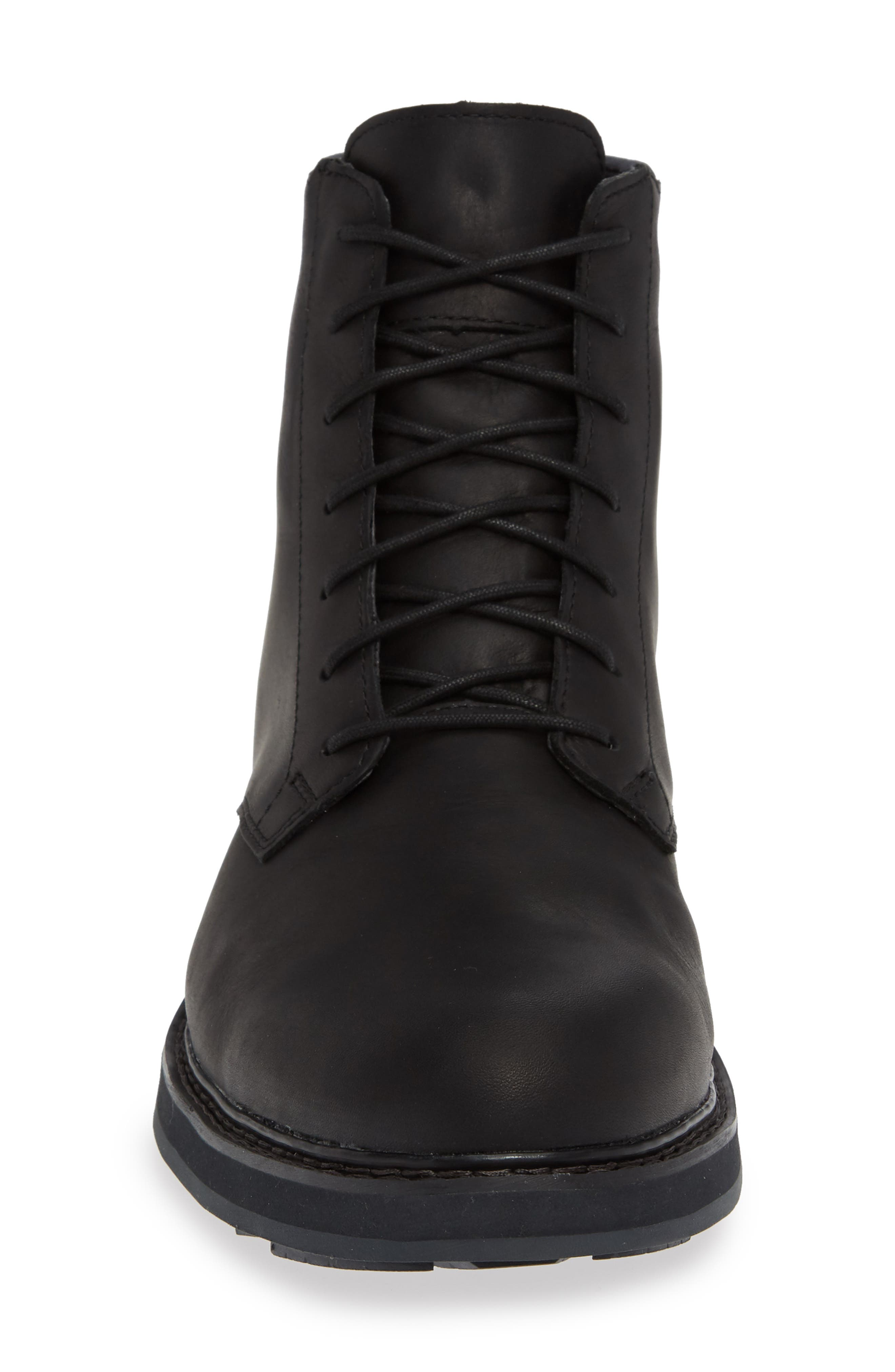 Squall Canyon Waterproof Plain Toe Boot,                             Alternate thumbnail 4, color,                             BLACK LEATHER