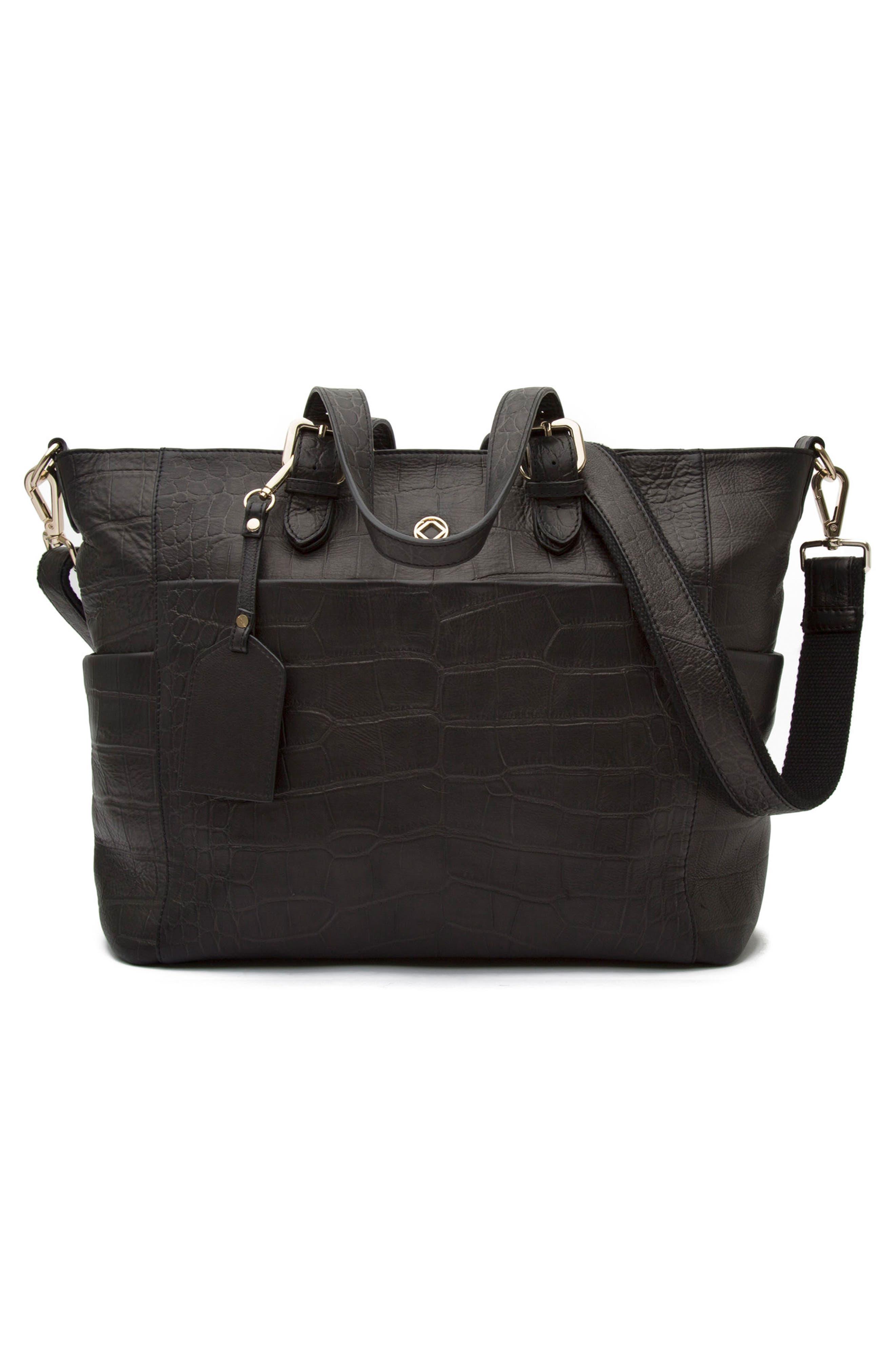 Francis Croc Embossed Leather Diaper Bag,                             Alternate thumbnail 6, color,                             001