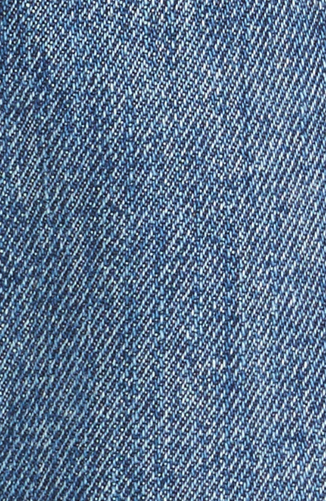 PSWL Cuffed Straight Leg Jeans,                             Alternate thumbnail 7, color,                             MEDIUM BLUE