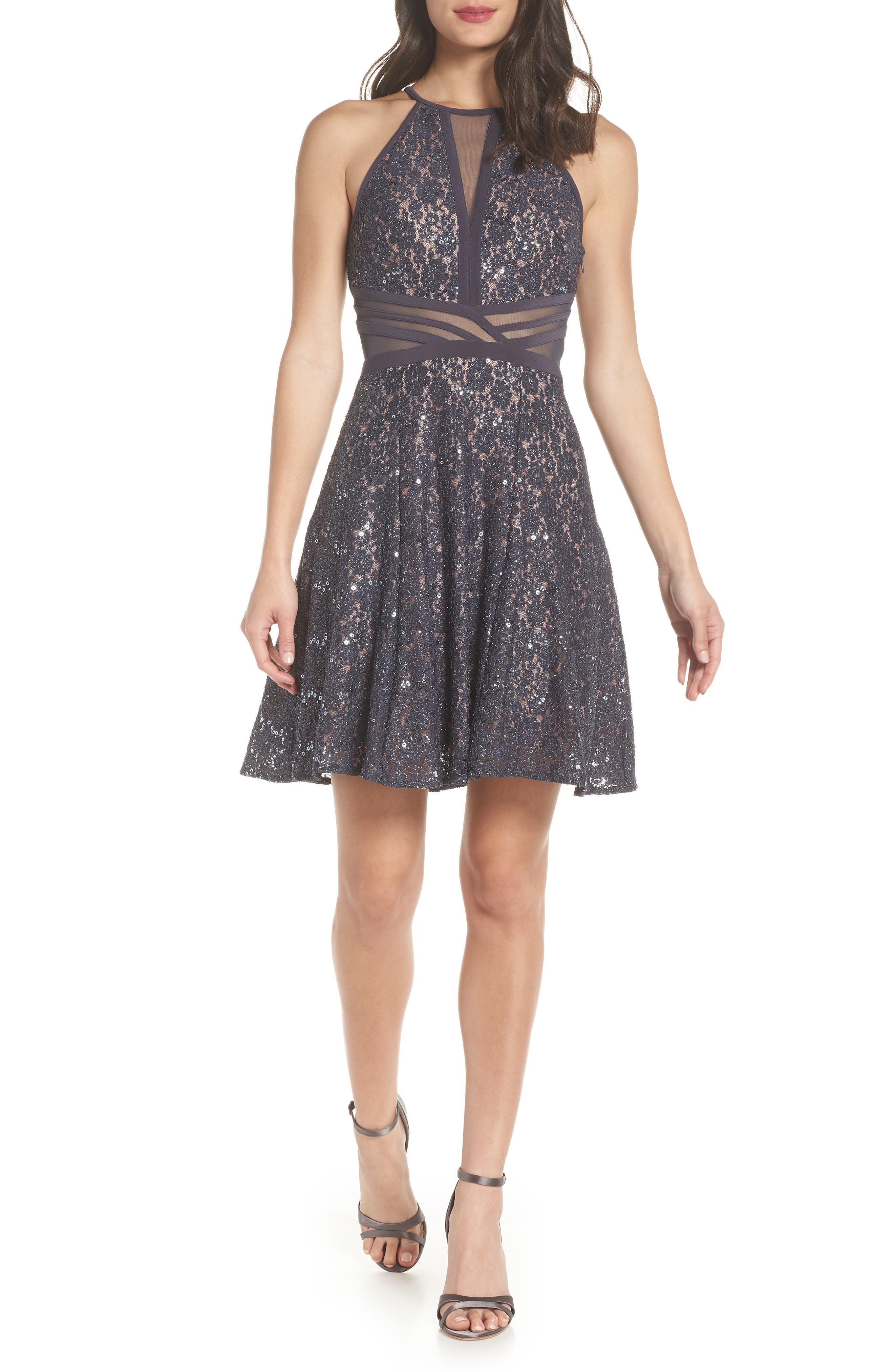 Morgan & Co. Sheer Inset Lace Fit & Flare Dress, /12 - Grey