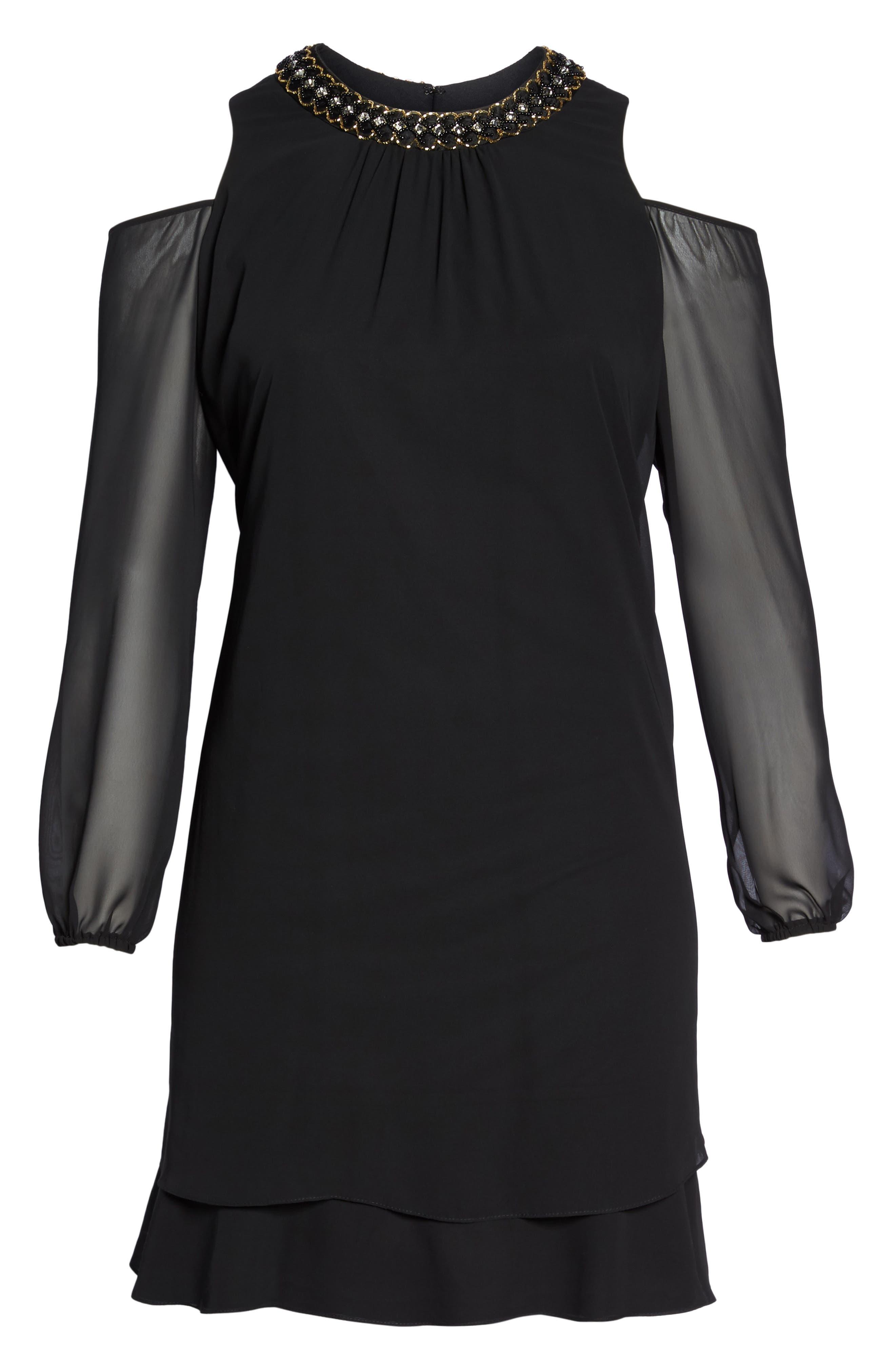 Embellished Cold Shoulder Shift Dress,                             Alternate thumbnail 7, color,                             011