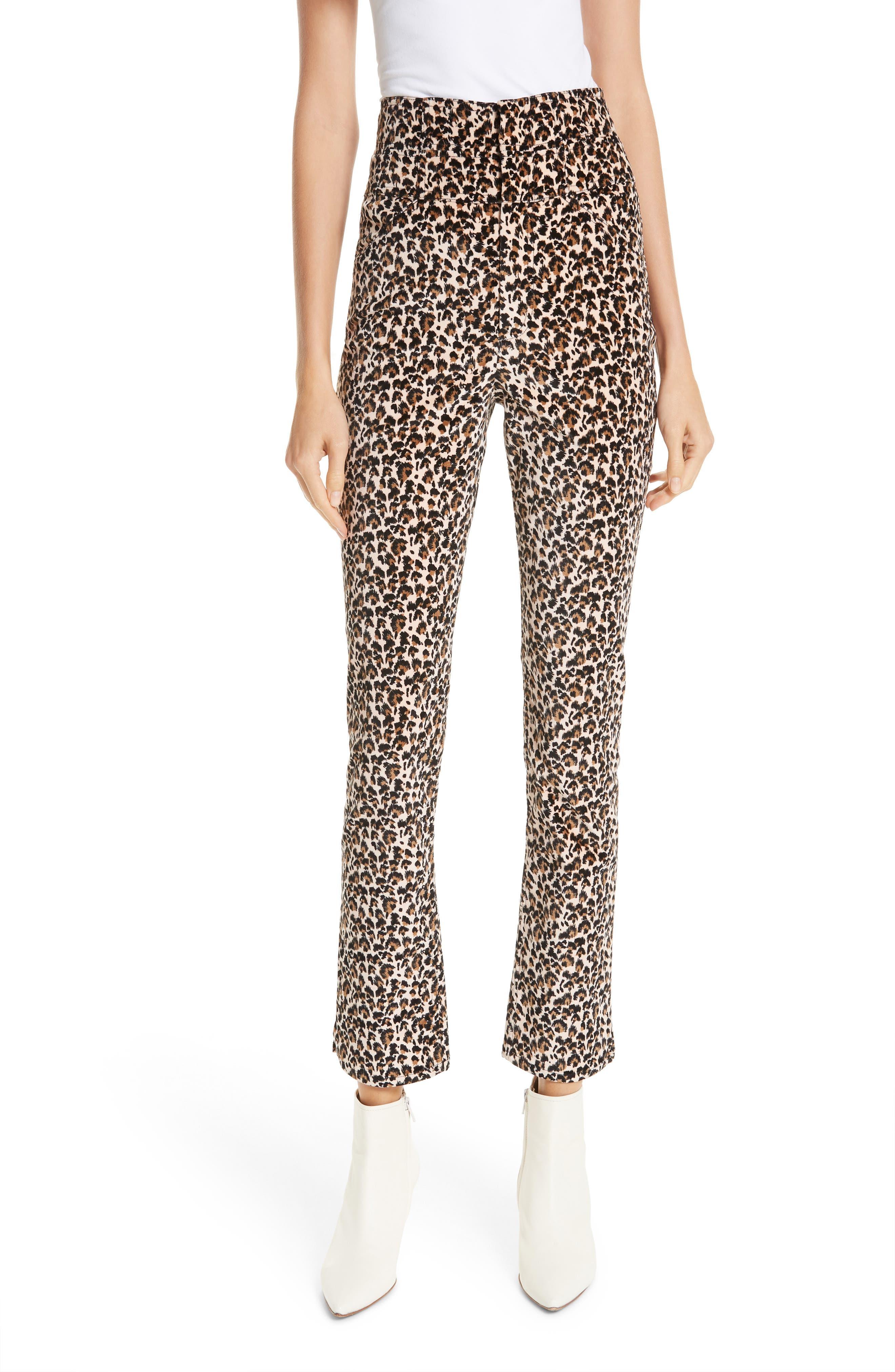 Leopard-Print Velvet High-Waist Skinny Ankle Pants in Caramel Combo