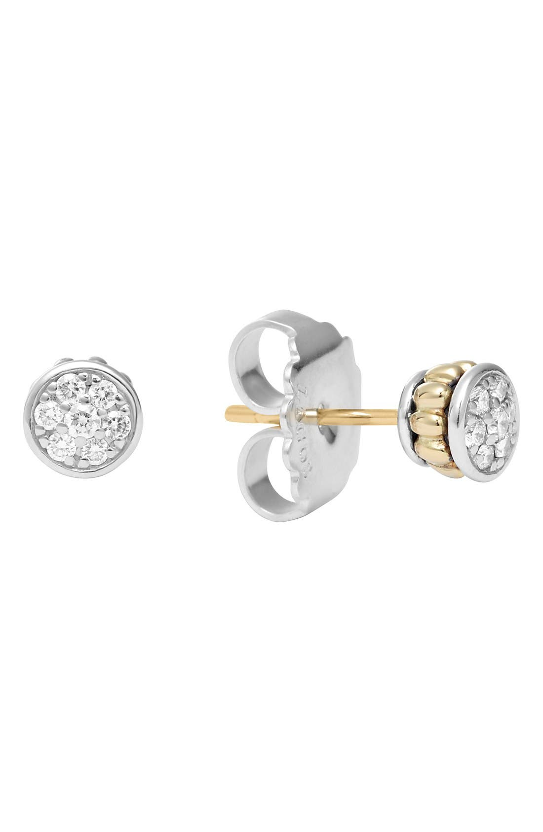 Diamond & Caviar Stud Earrings,                             Alternate thumbnail 3, color,                             040
